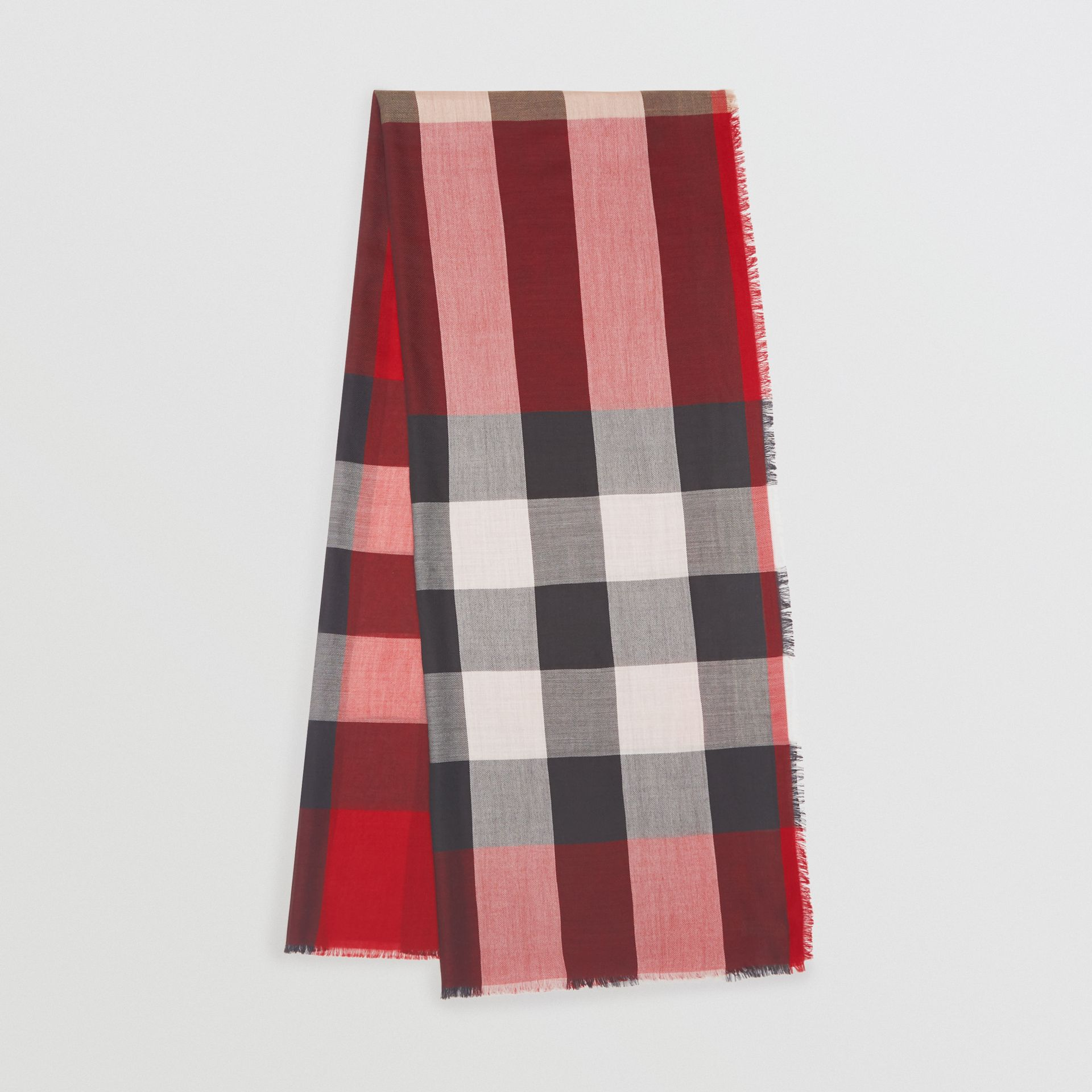 Lightweight Check Cashmere Scarf in Parade Red - Women | Burberry - gallery image 2