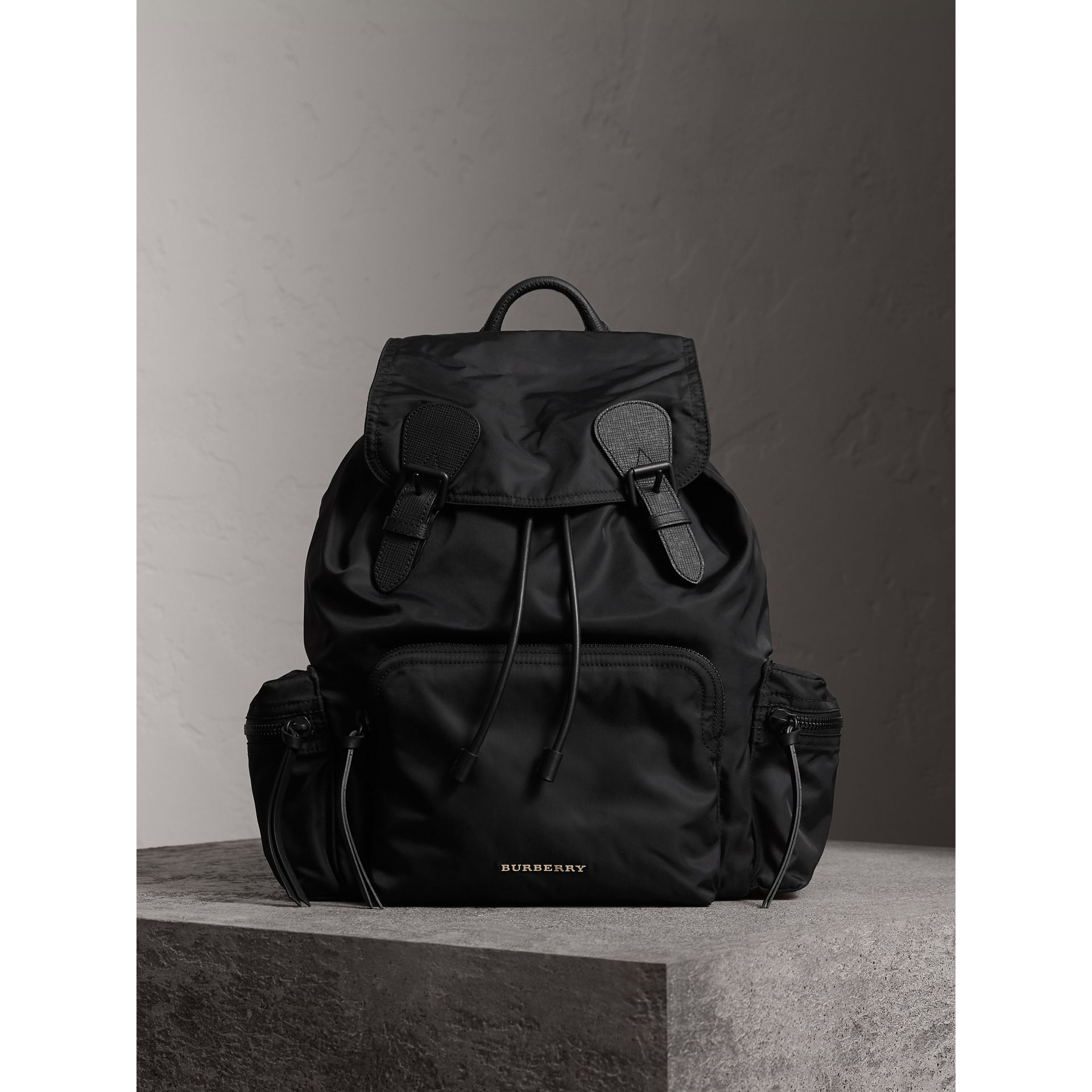 The Large Rucksack in Technical Nylon and Leather in Black - Men | Burberry Hong Kong - gallery image 6