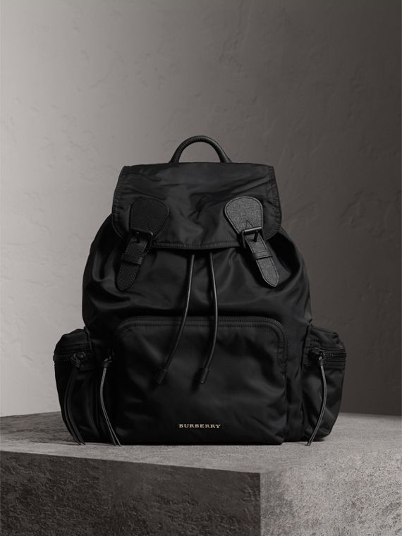 The Large Rucksack in Technical Nylon and Leather in Black