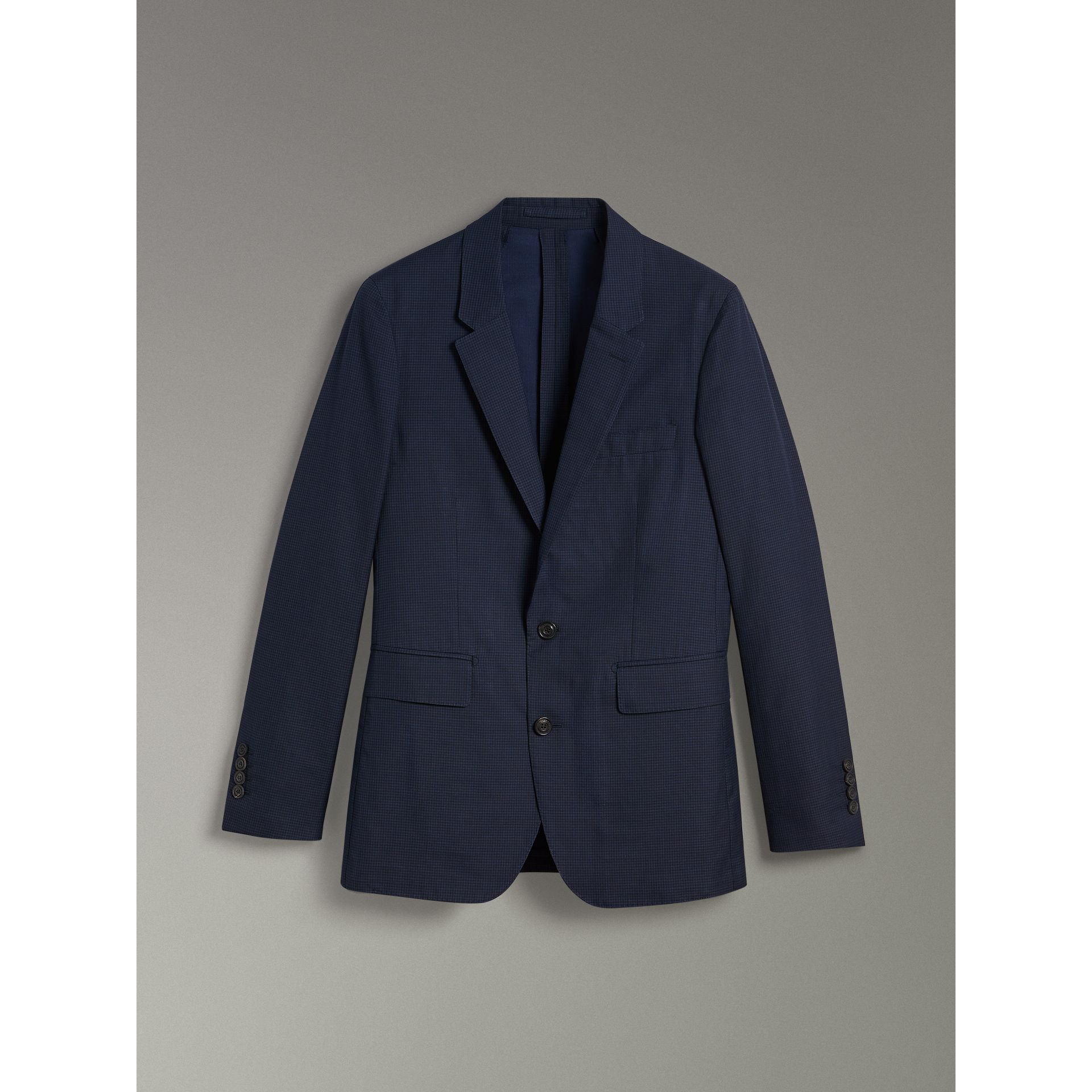 Slim Fit Gingham Cotton Jacket in Navy - Men | Burberry - gallery image 3