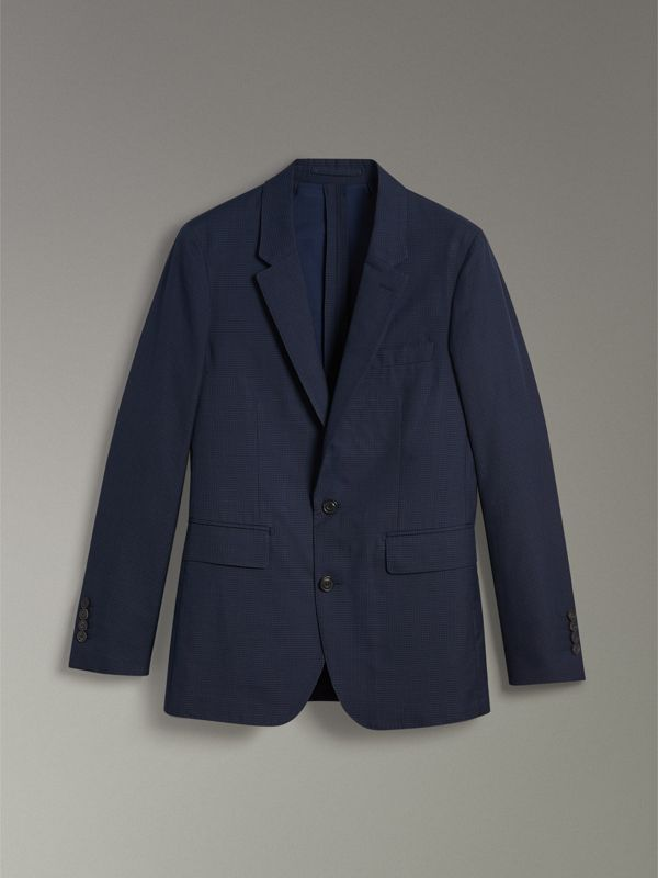 Slim Fit Gingham Cotton Jacket in Navy - Men | Burberry - cell image 3
