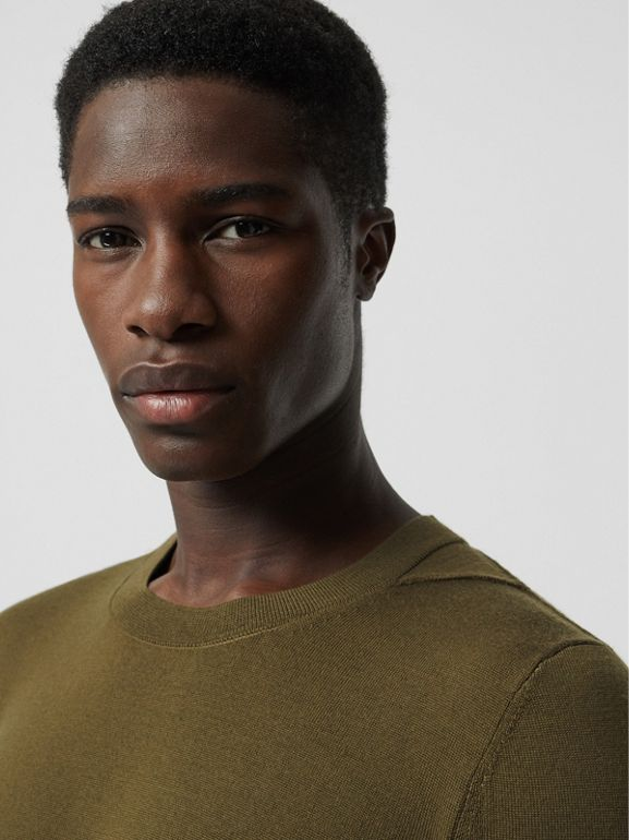 Rib Knit Detail Merino Wool Sweater in Olive Green - Men | Burberry Singapore - cell image 1