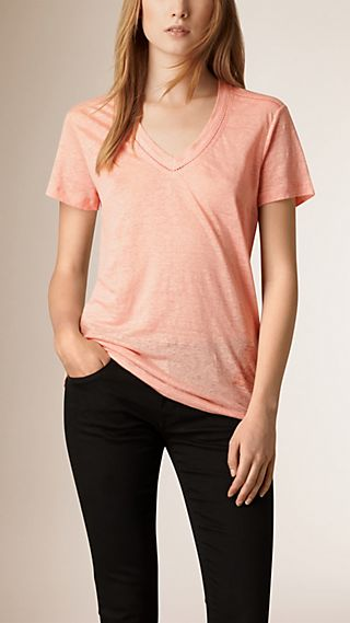 V-Neck Open Stitch Detail Linen T-Shirt