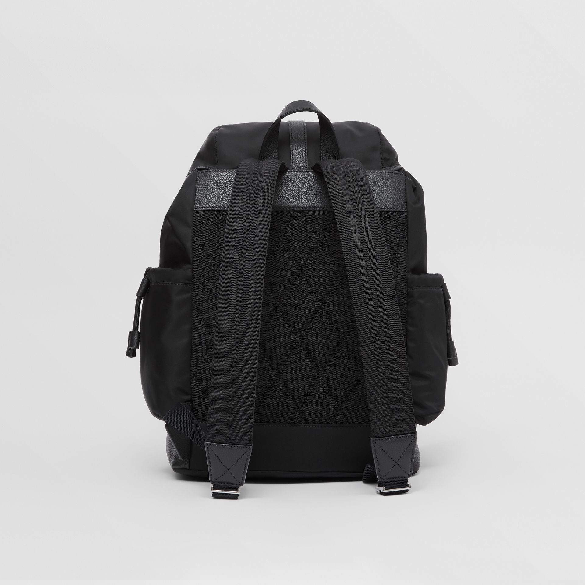 Leather Trim ECONYL® Baby Changing Backpack in Black - Children | Burberry - gallery image 5