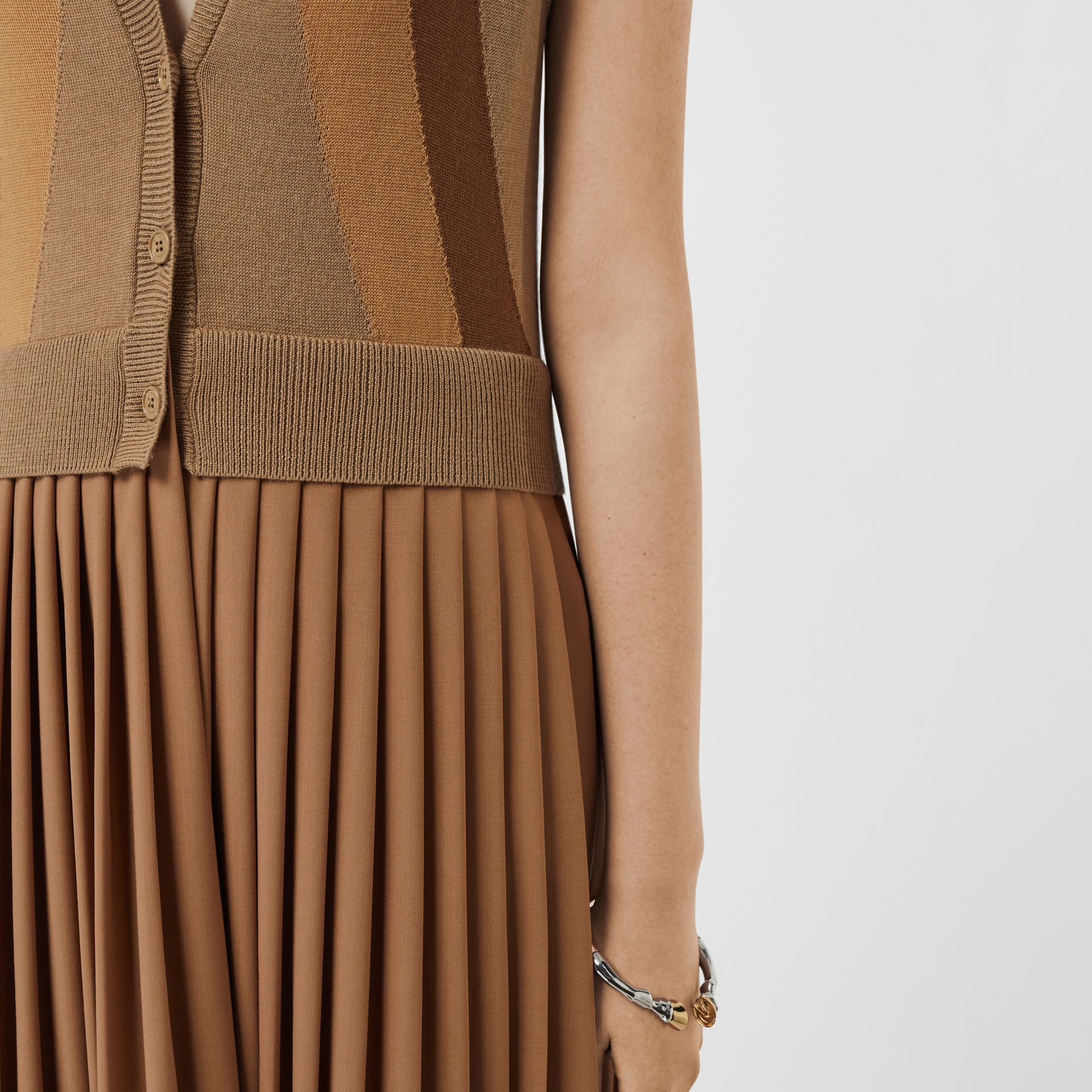 Sleeveless Knitted Wool V-neck Dress in Acorn - Women | Burberry - gallery image 4
