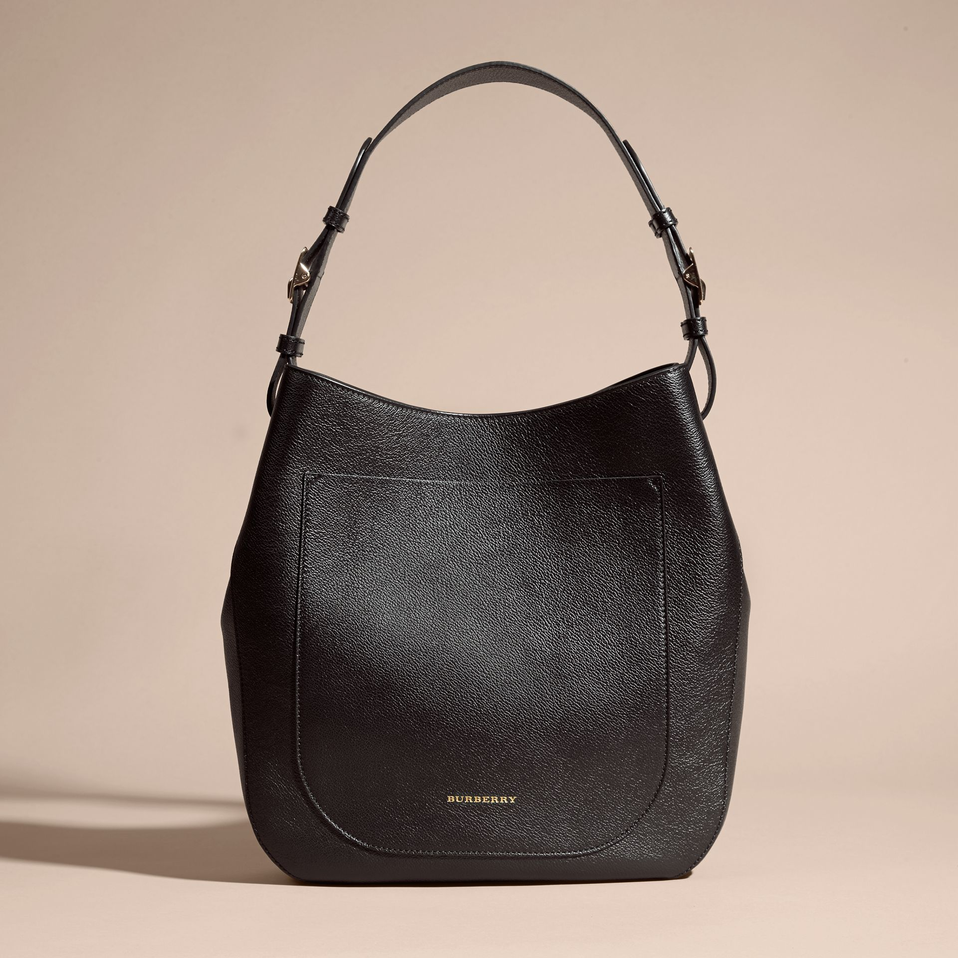 Textured Leather Shoulder Bag in Black - gallery image 8