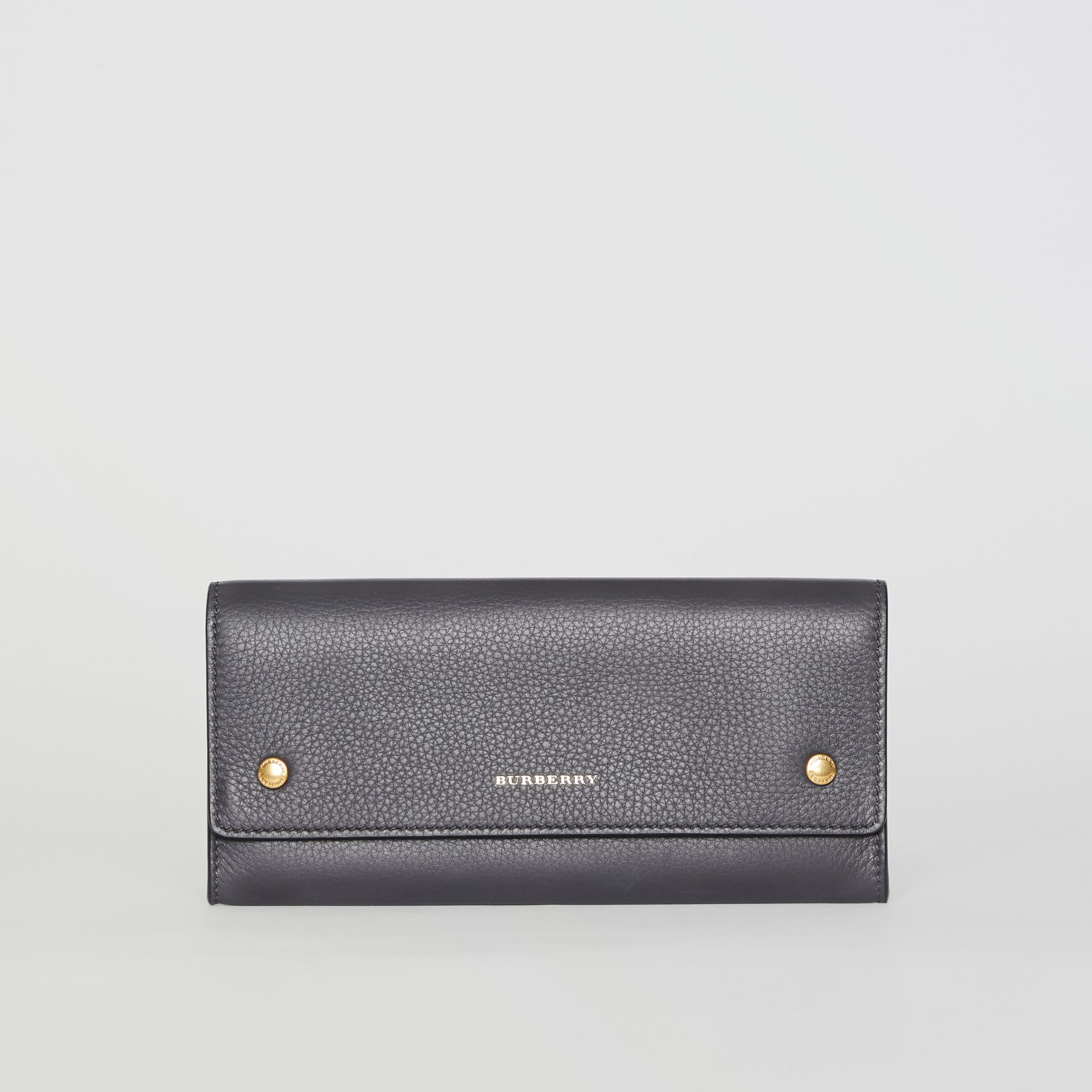 Leather Continental Wallet in Charcoal Grey - Women | Burberry - gallery image 0