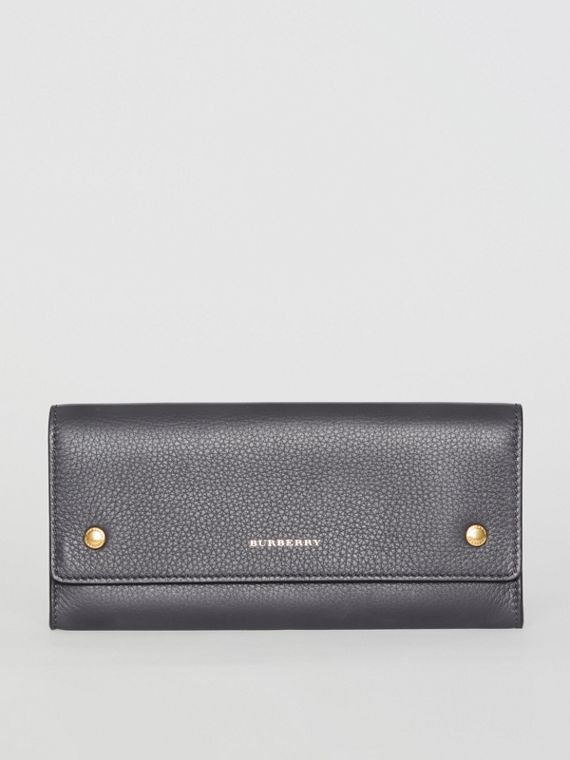 Leather Continental Wallet in Charcoal Grey