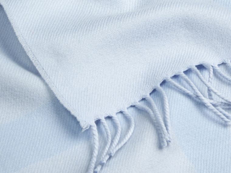 Check Merino Wool Baby Blanket Ice Blue - cell image 1