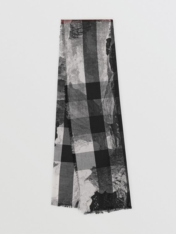 Dreamscape Print Check Silk Jacquard Square Scarf in White