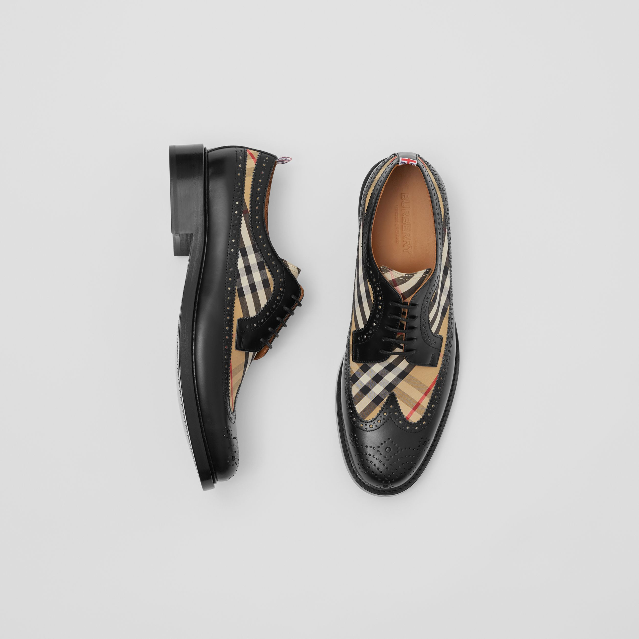 Brogue Detail Leather and Vintage Check Derby Shoes in Black/archive Beige - Men | Burberry - 1