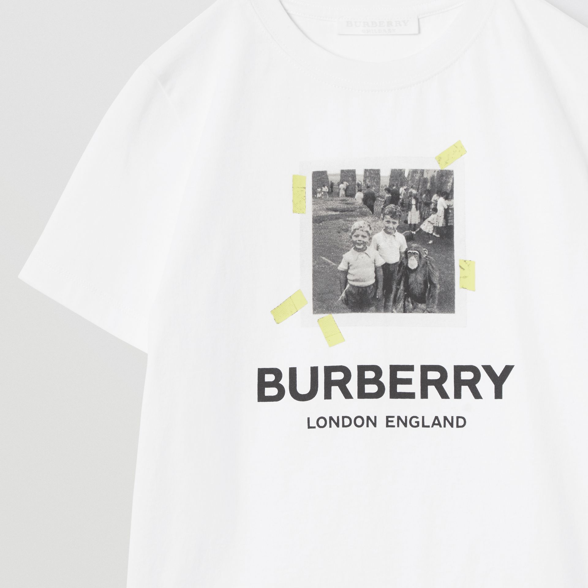 Vintage Photo Print Cotton T-Shirt in White - Children | Burberry - gallery image 5