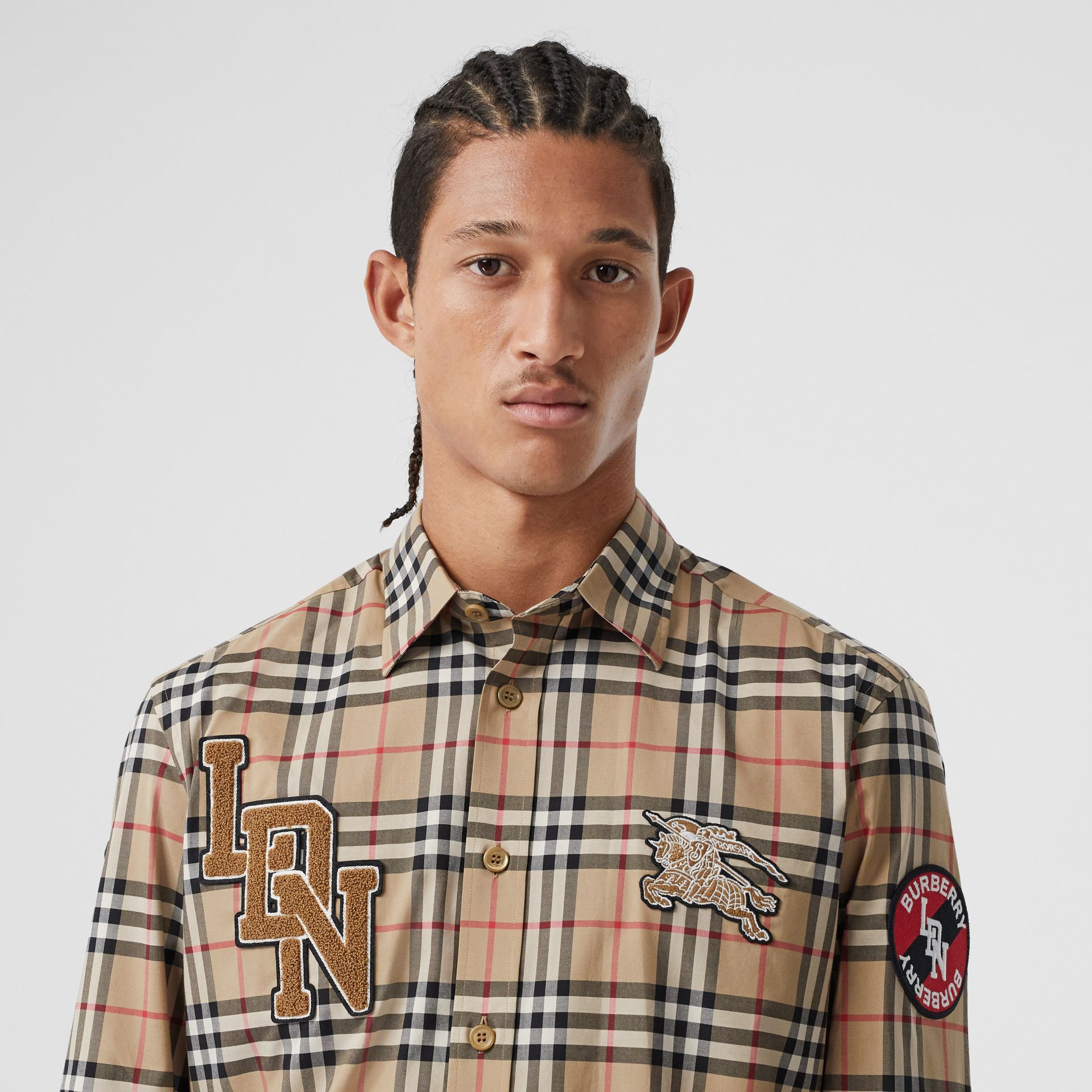 Classic Fit Logo Graphic Vintage Check Cotton Shirt in Archive Beige - Men | Burberry - gallery image 1