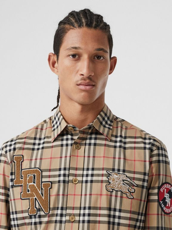 Classic Fit Logo Graphic Vintage Check Cotton Shirt in Archive Beige - Men | Burberry - cell image 1