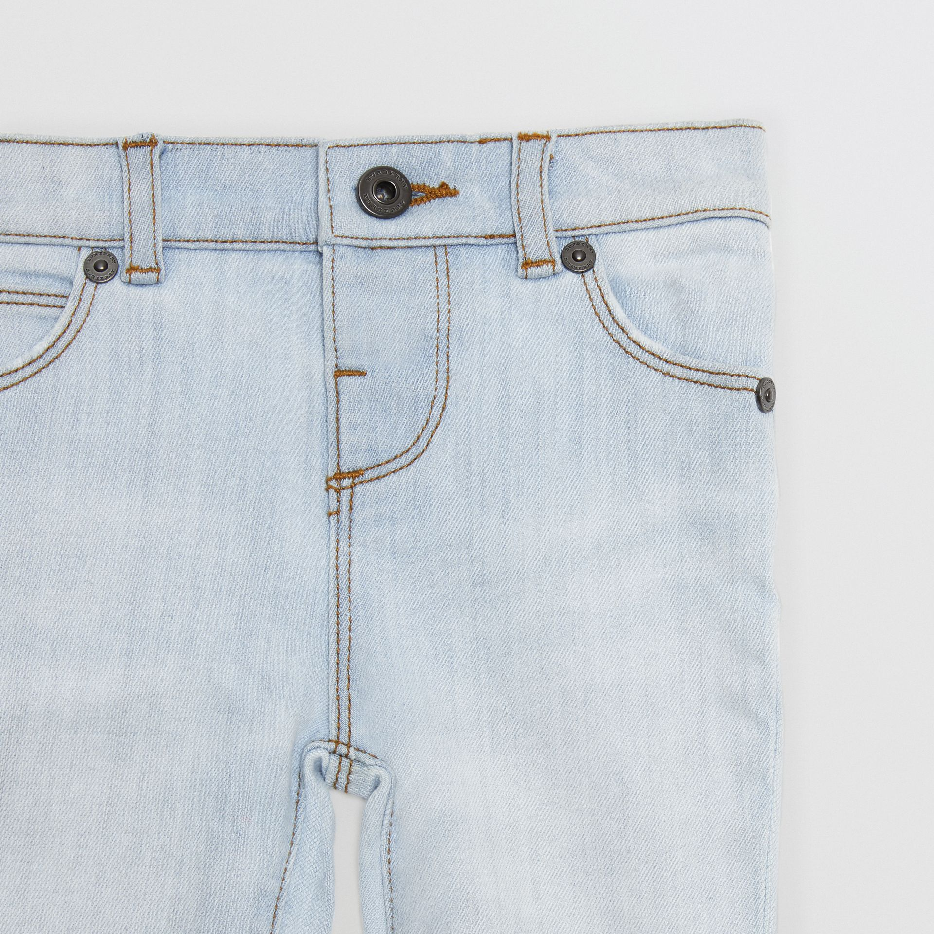 Skinny Fit Stretch Denim Jeans in Light Blue - Children | Burberry United States - gallery image 4