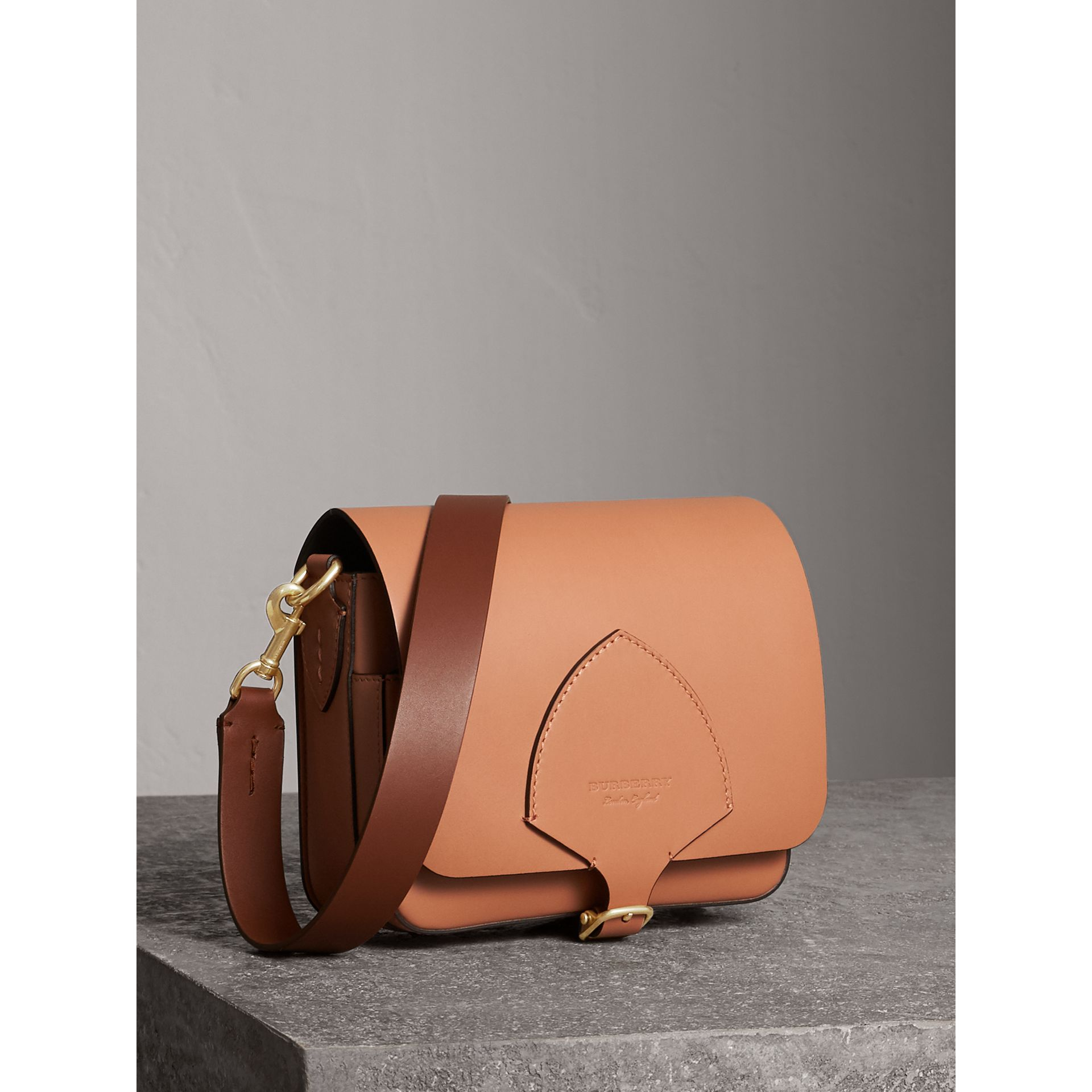 The Square Satchel in Leather in Camel - Women | Burberry - gallery image 7