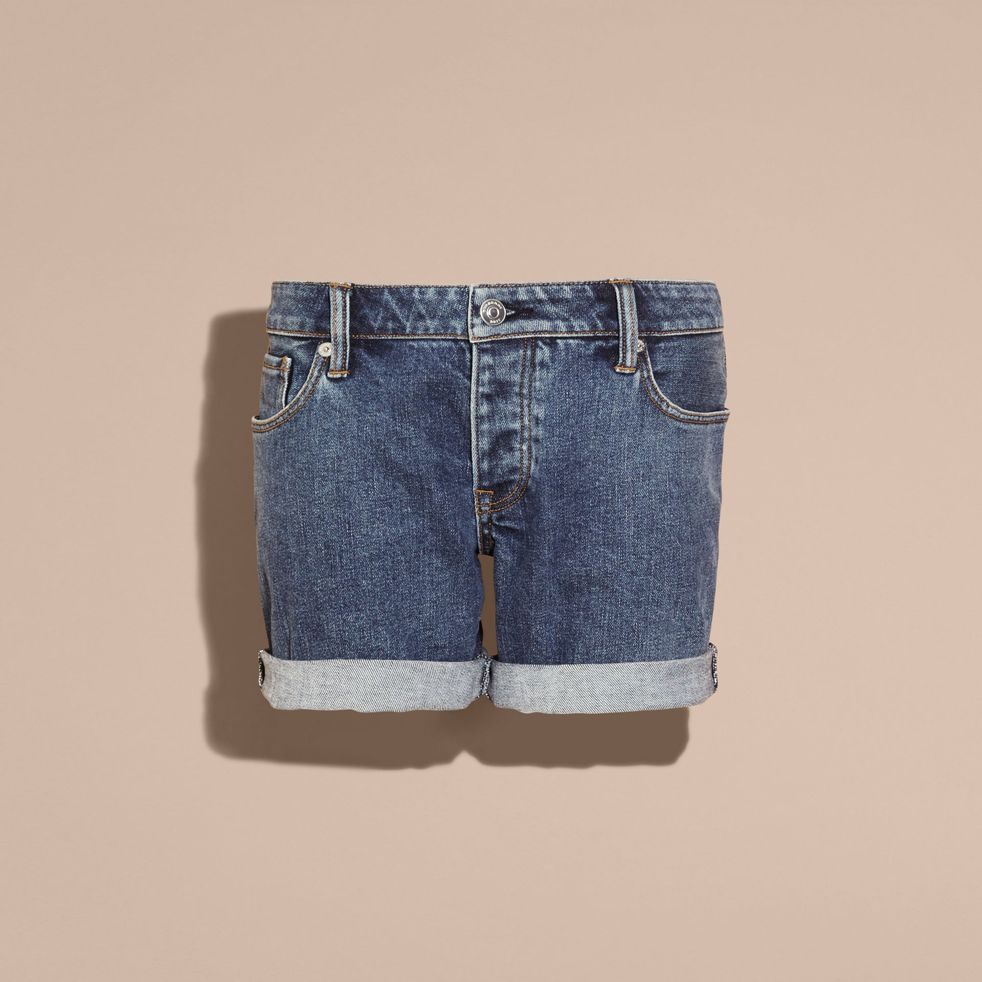 Mid indigo Low-rise Denim Shorts - gallery image 4