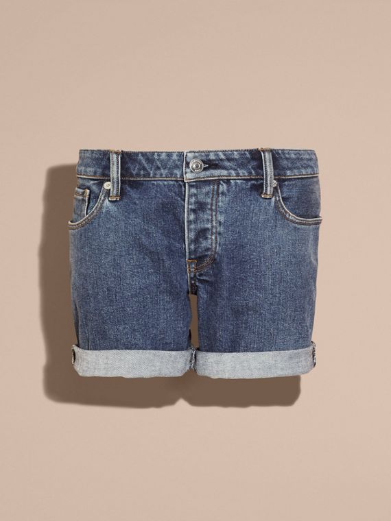 Mid indigo Low-rise Denim Shorts - cell image 3