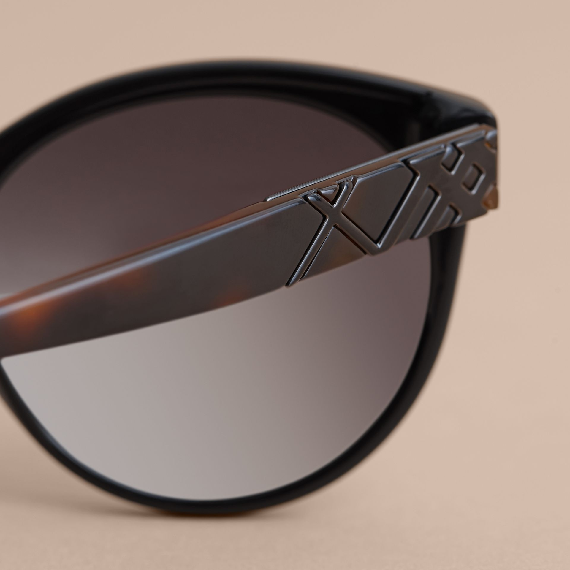 Check Detail Round Frame Sunglasses in Black - Women | Burberry Australia - gallery image 2