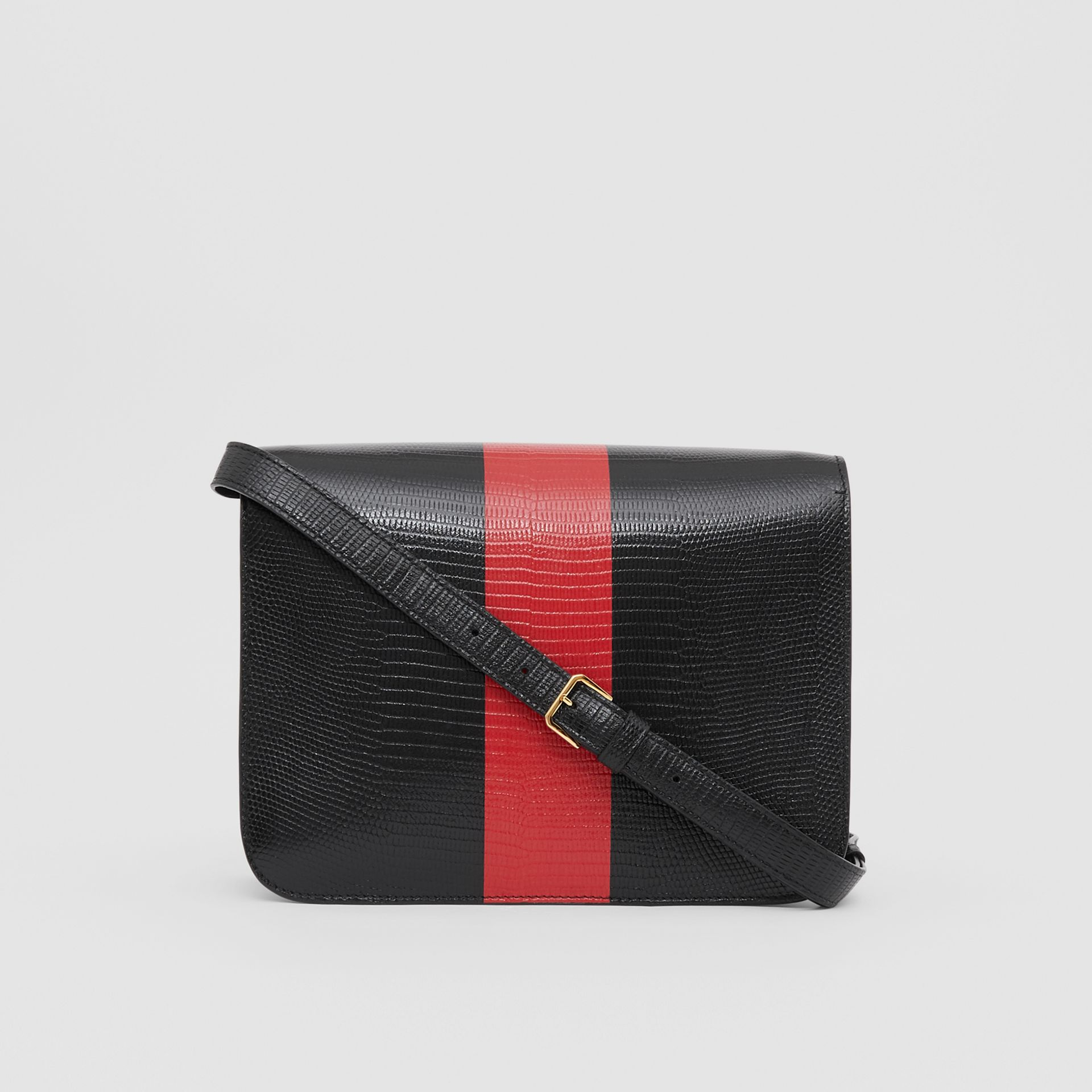 Medium Striped Embossed Leather TB Bag in Black - Women | Burberry United States - gallery image 7