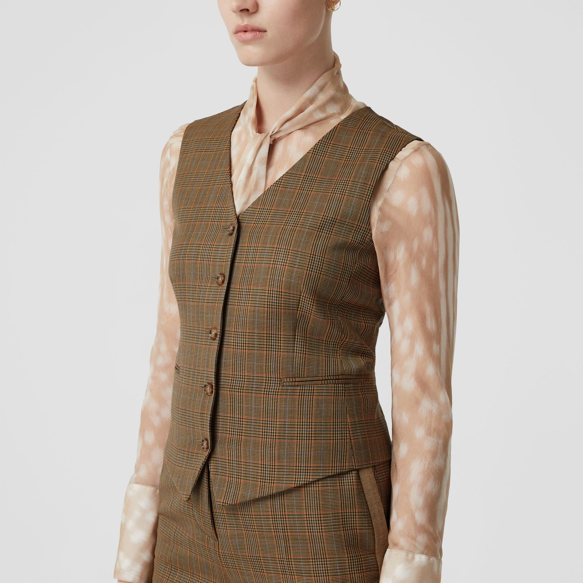 Houndstooth Check Wool Tailored Waistcoat in Fawn - Women | Burberry - gallery image 4
