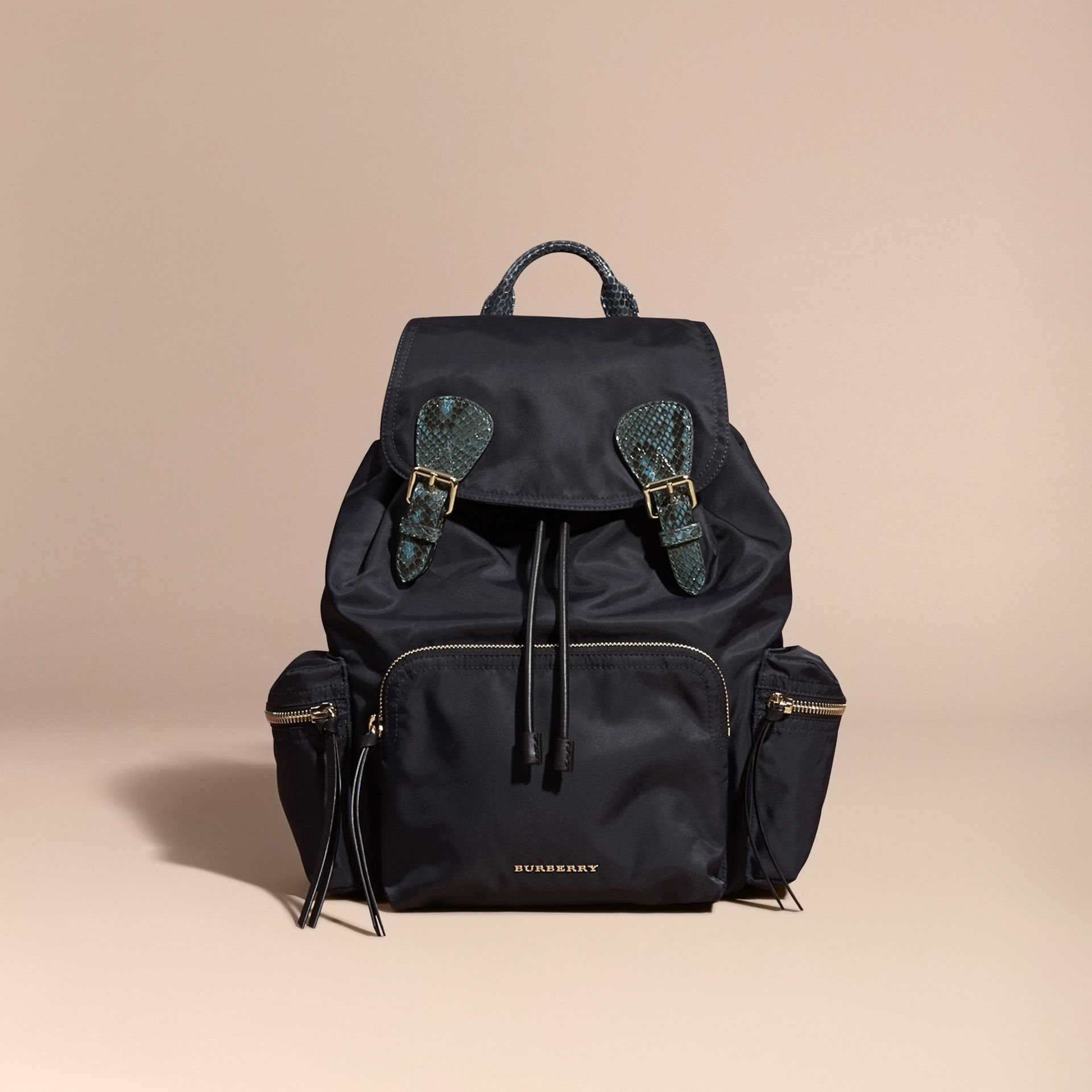 The Large Rucksack in Technical Nylon and Snakeskin in Ink Blue/mineral Blue - gallery image 8