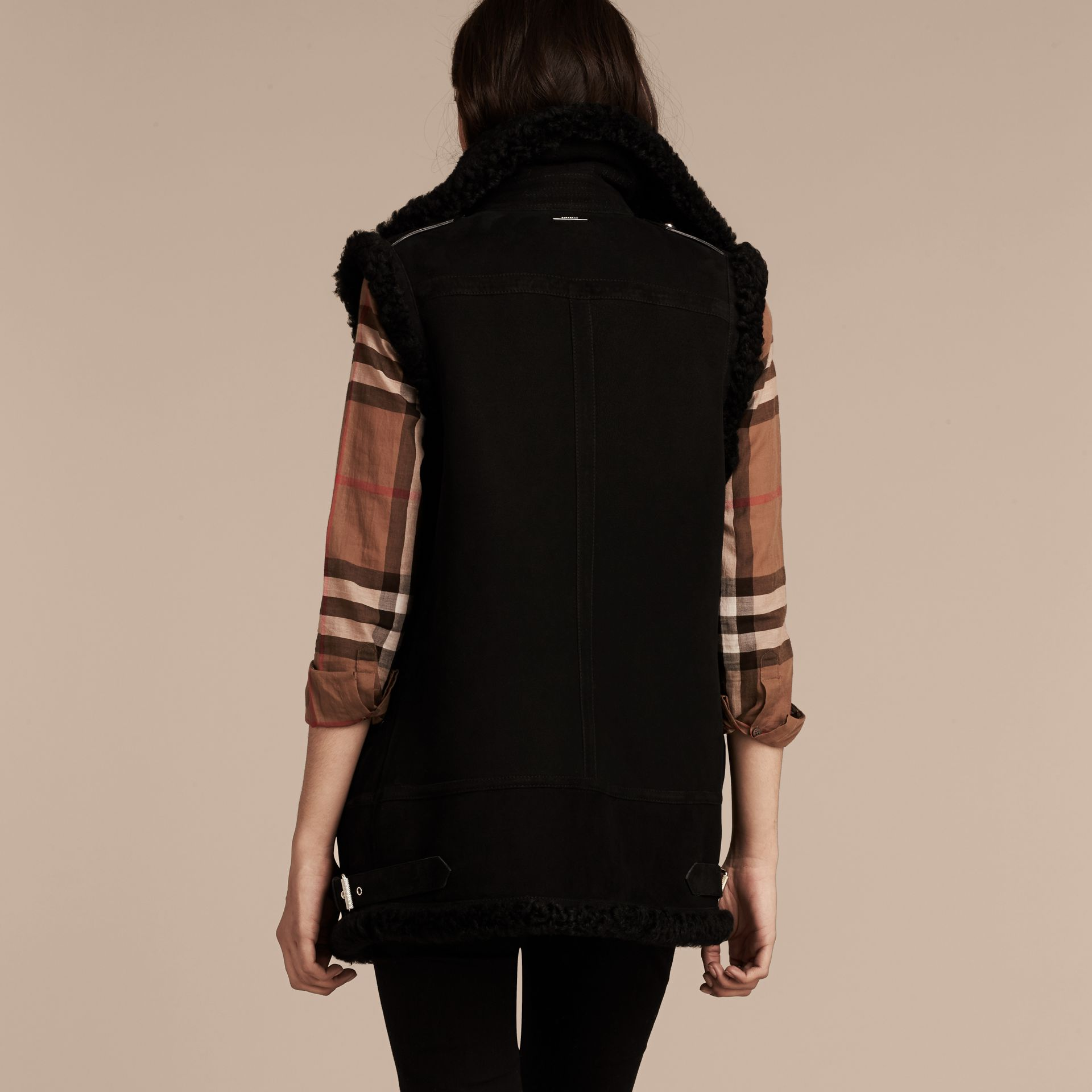 Black Shearling Biker Gilet Black - gallery image 3