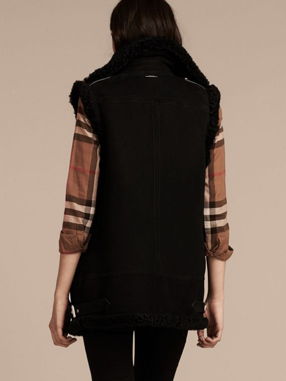 Black Shearling Biker Gilet Black - cell image 2