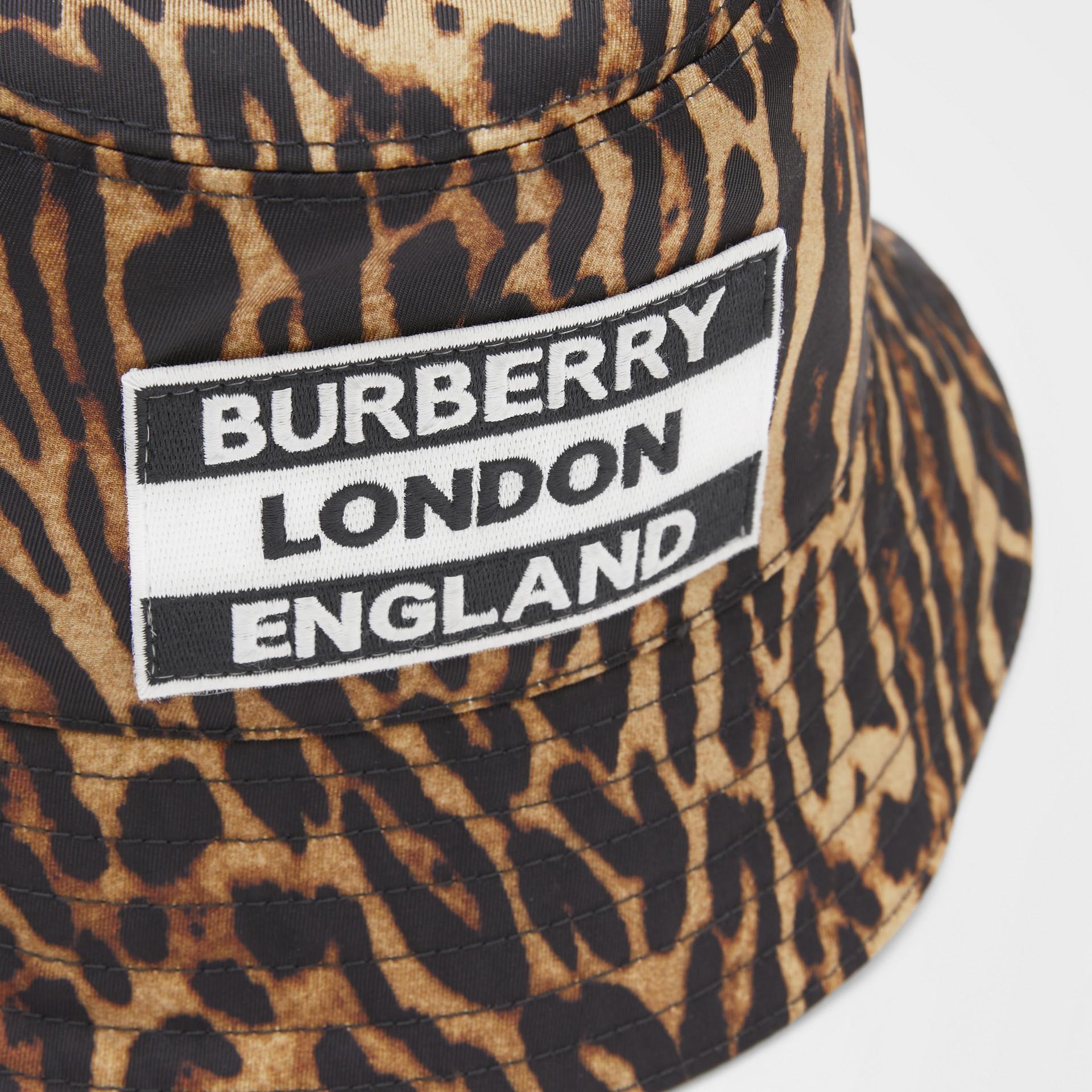 Reversible Logo Appliqué Leopard Print Bucket Hat | Burberry United Kingdom - gallery image 1