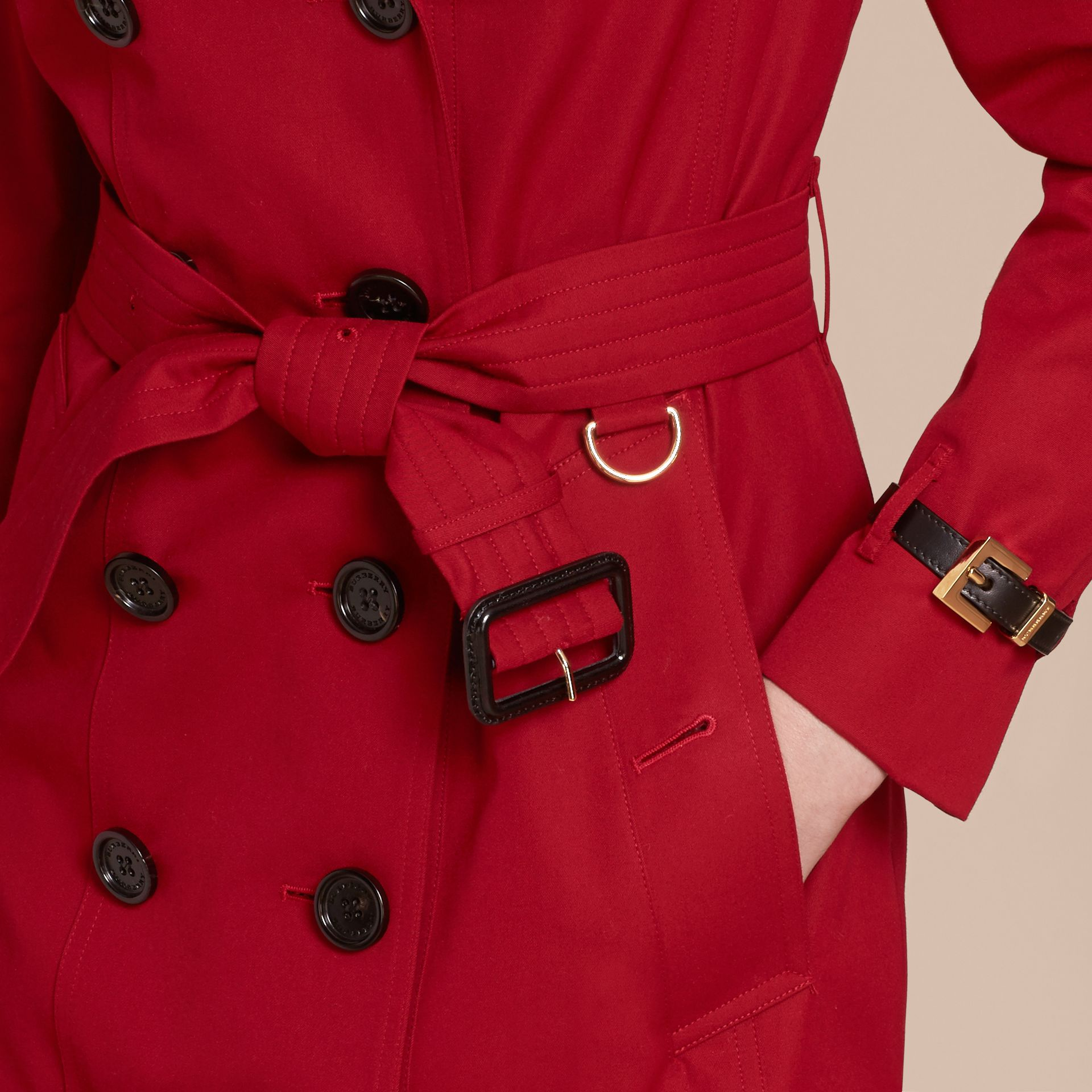 Leather Trim Cotton Gabardine Trench Coat in Parade Red - gallery image 6