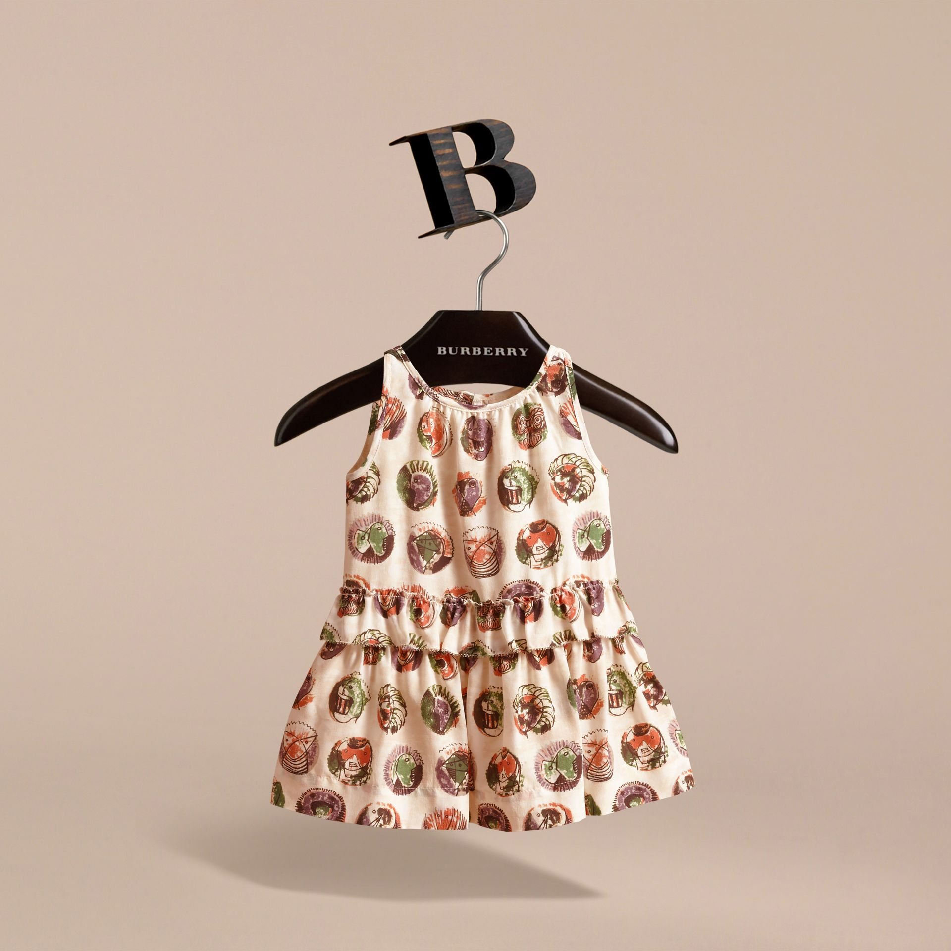 Pallas Heads Print Silk Dress with Ruffle in Natural White | Burberry - gallery image 3