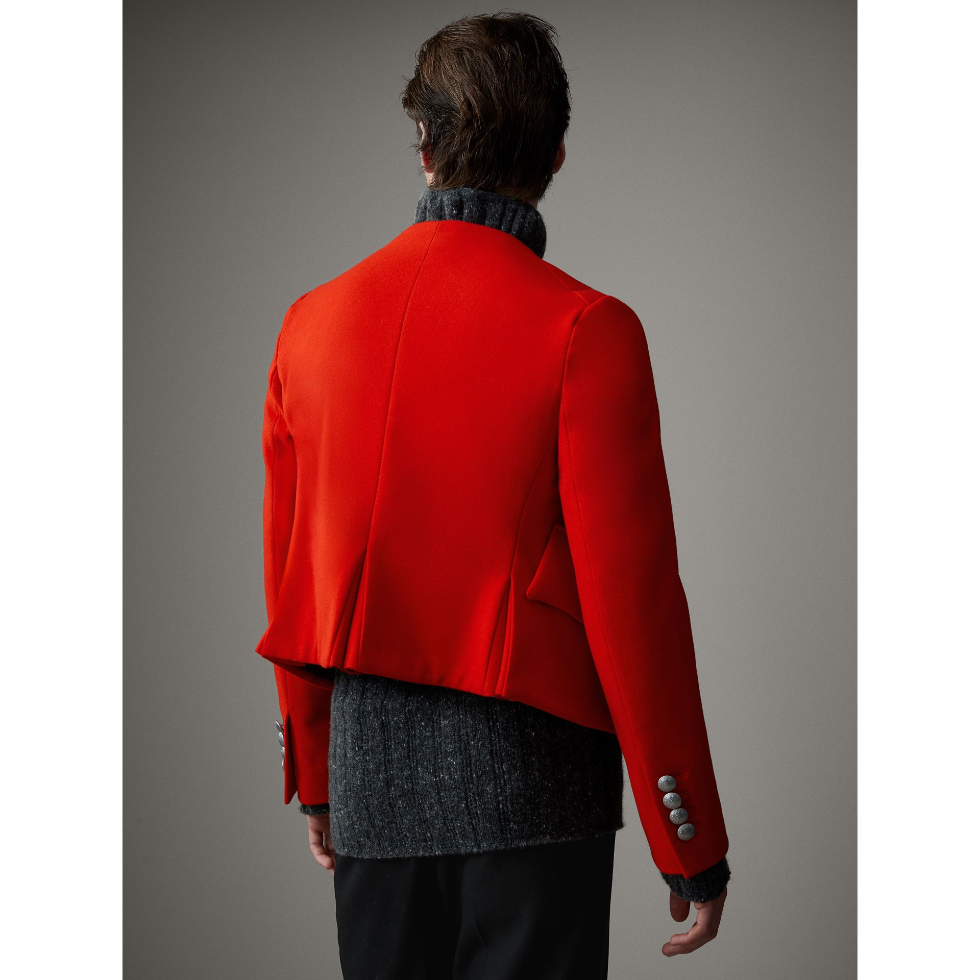 Wool Cropped Ceremonial Jacket in Orange Red - Men | Burberry Australia - gallery image 3