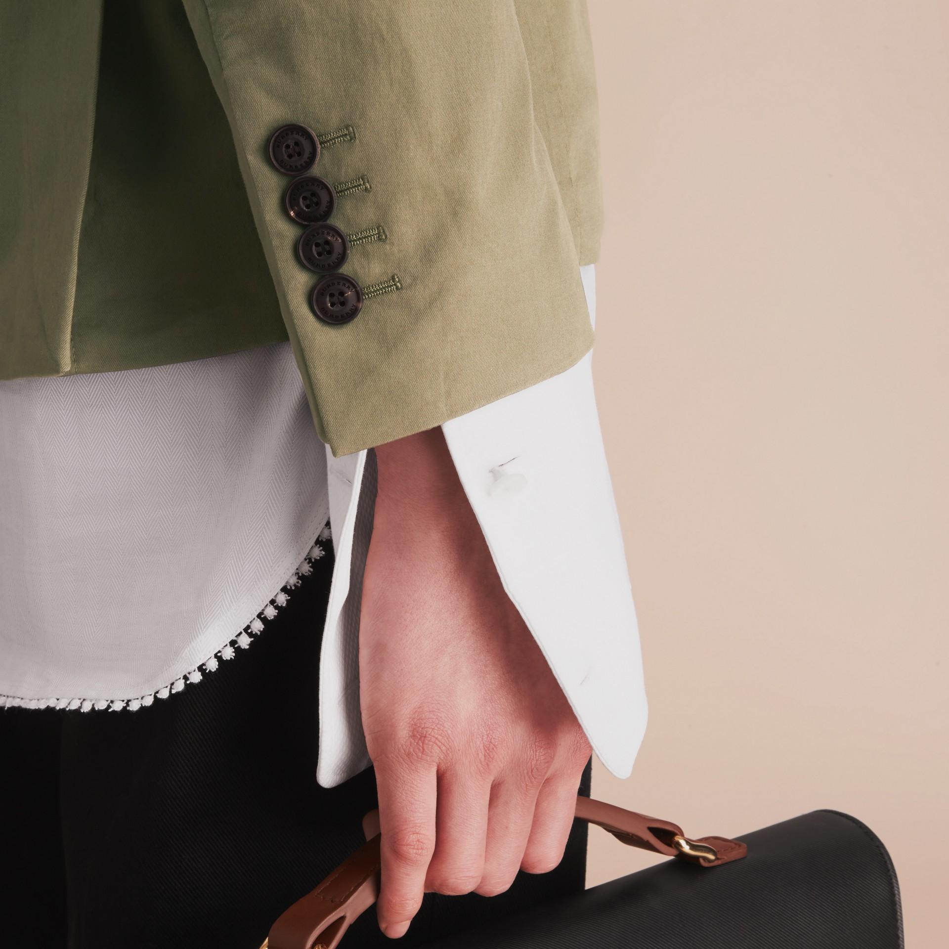 Slim Fit Stretch-cotton Blazer Khaki Green - gallery image 6