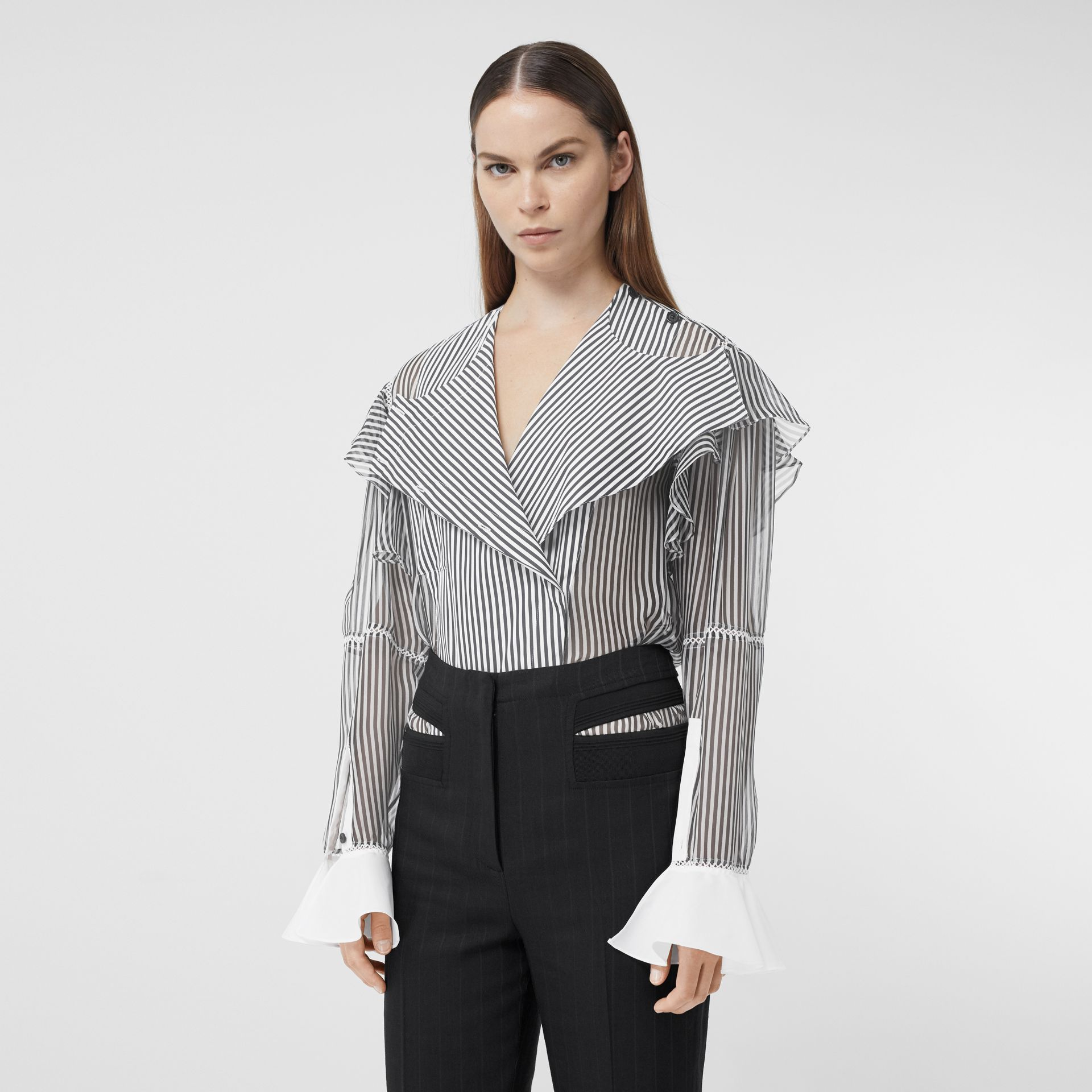 Ruffle Detail Striped Silk Chiffon Shirt in Black - Women | Burberry - gallery image 5