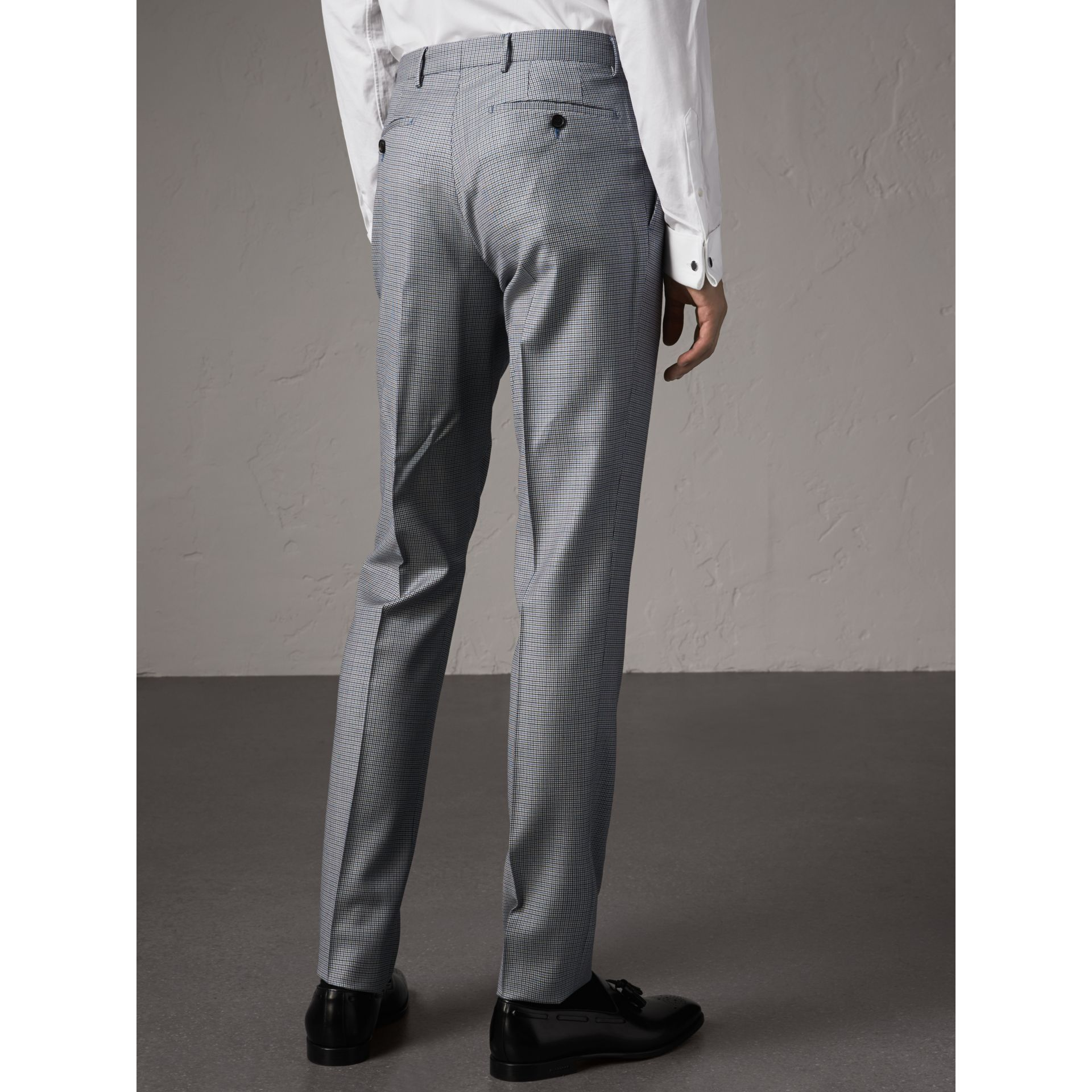 Slim Fit Houndstooth Wool Trousers in Light Blue - Men | Burberry - gallery image 3