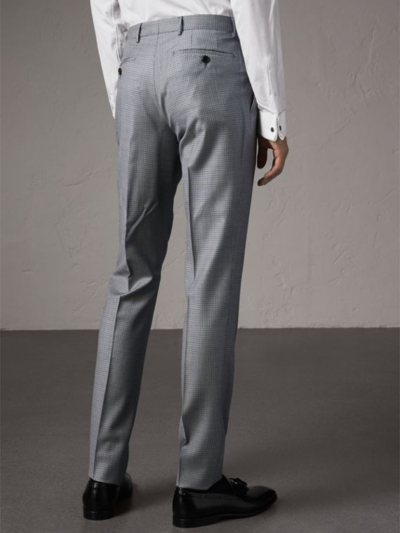 Slim Fit Houndstooth Wool Trousers in Light Blue - Men | Burberry United Kingdom - cell image 2