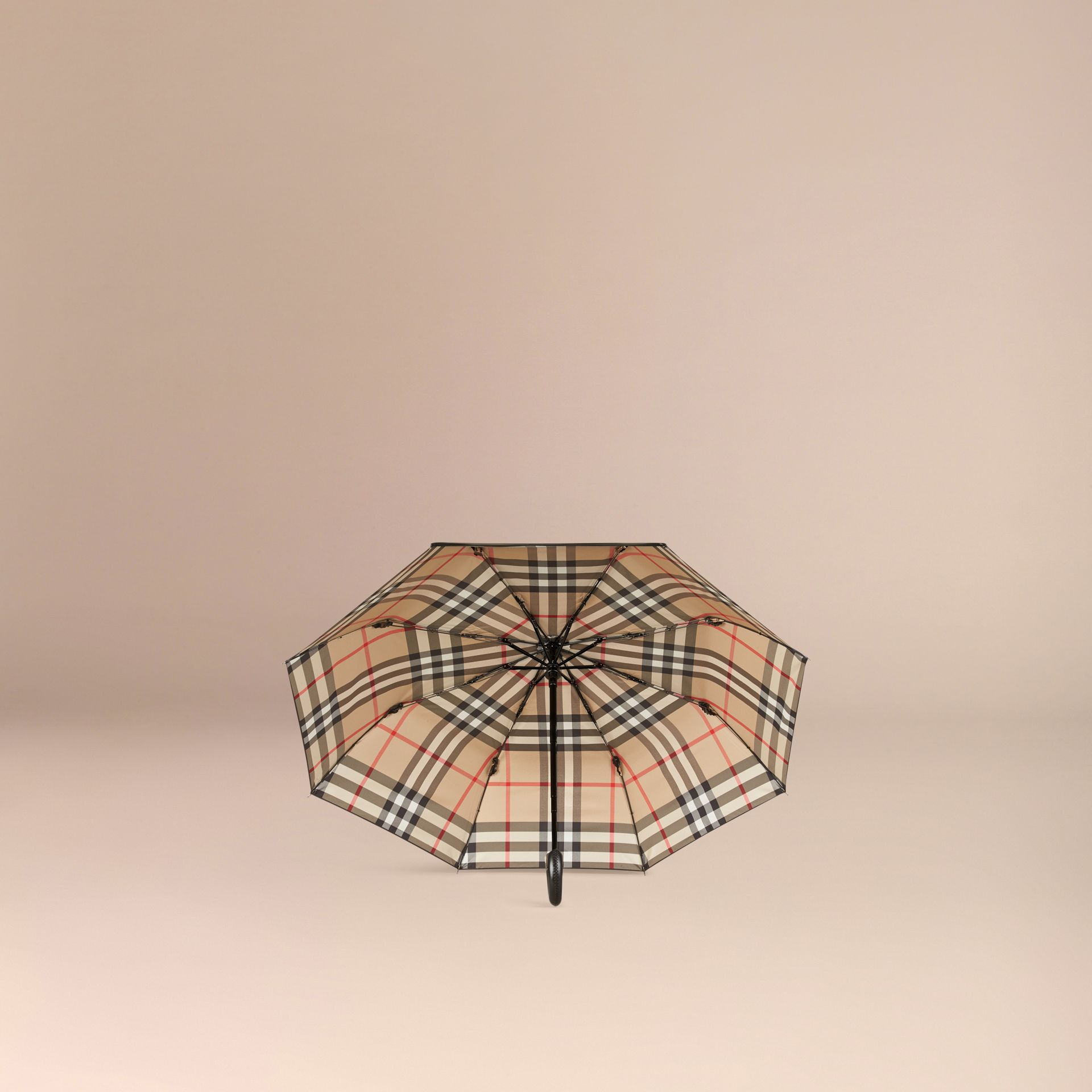 Check-lined Folding Umbrella Camel - gallery image 3