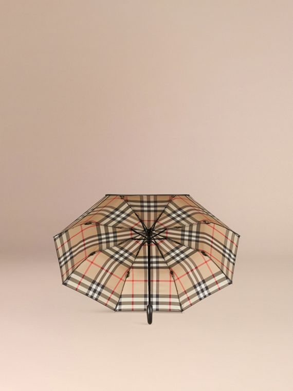 Check-lined Folding Umbrella in Camel - cell image 2