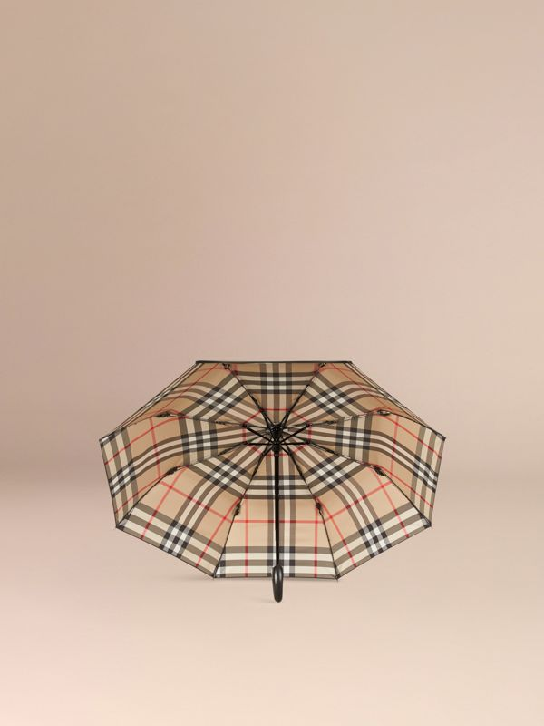 Check-lined Folding Umbrella in Camel | Burberry United Kingdom - cell image 2