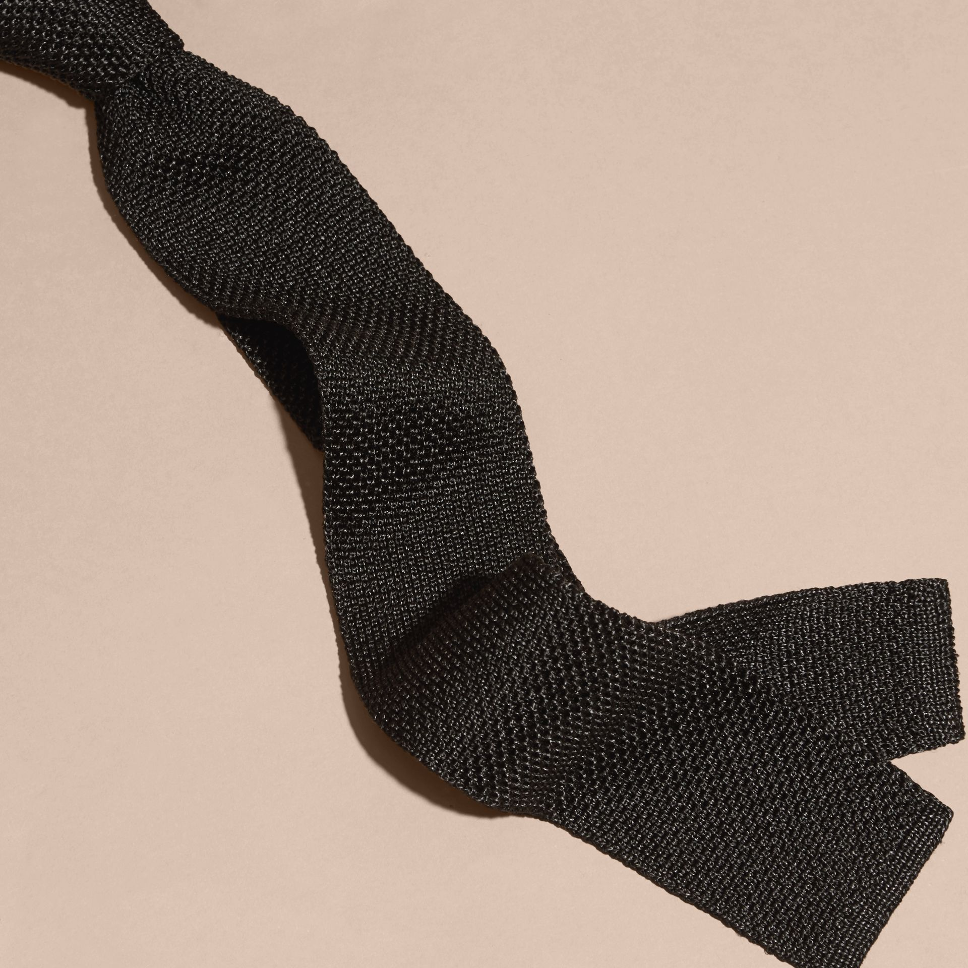 Black Slim Cut Knitted Silk Tie Black - gallery image 2