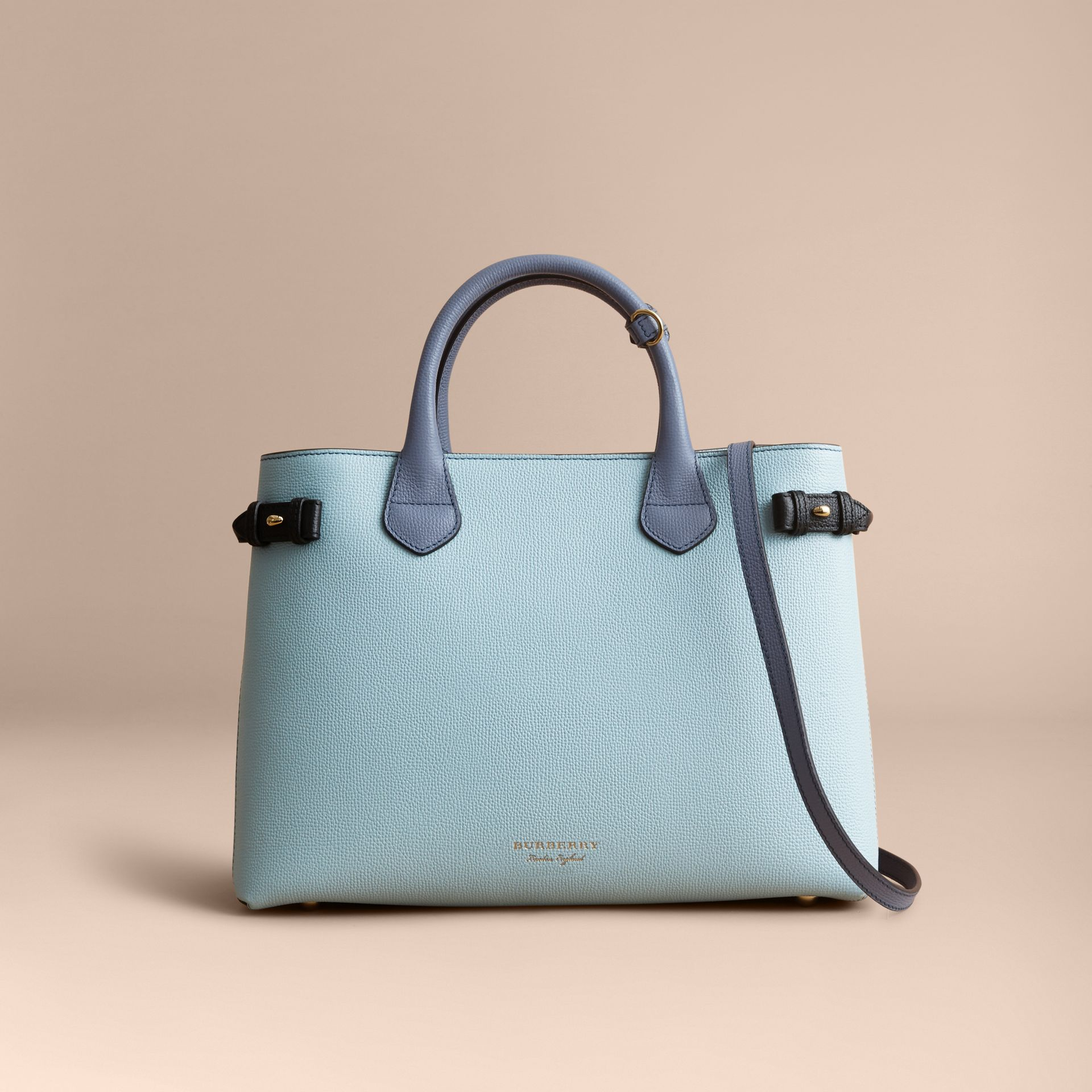 The Medium Banner in Tri-tone Leather and House Check in Pale Opal/slate Blue - Women | Burberry - gallery image 8