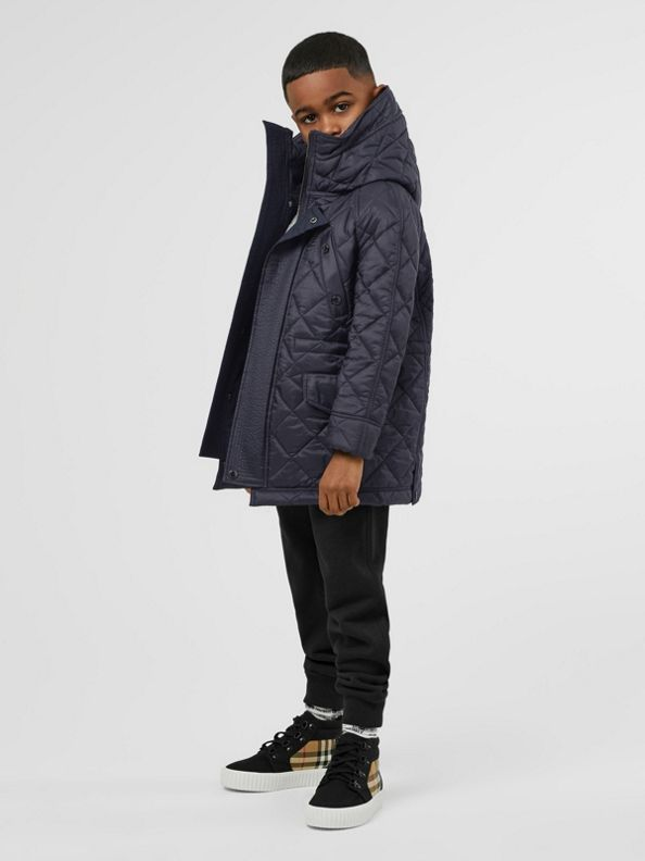 Diamond Quilted Hooded Jacket in Navy