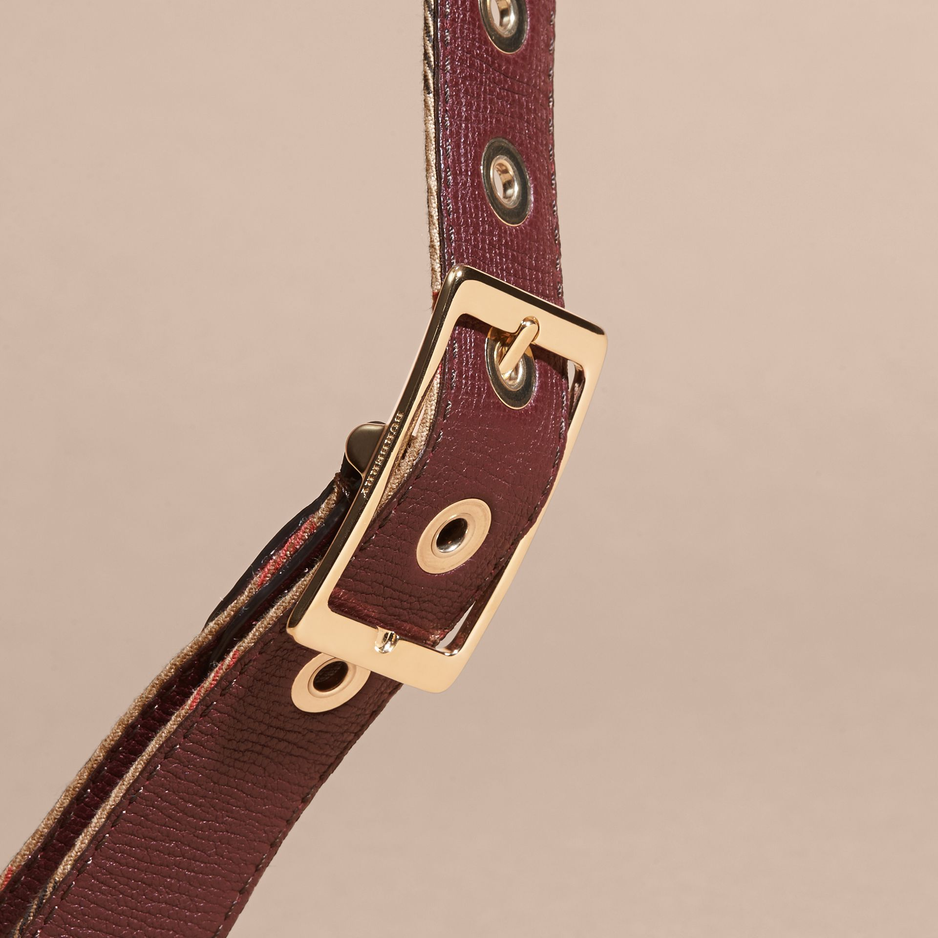 Camel/mahogany red Reversible House Check and Grainy Leather Belt Camel/mahogany Red - gallery image 4