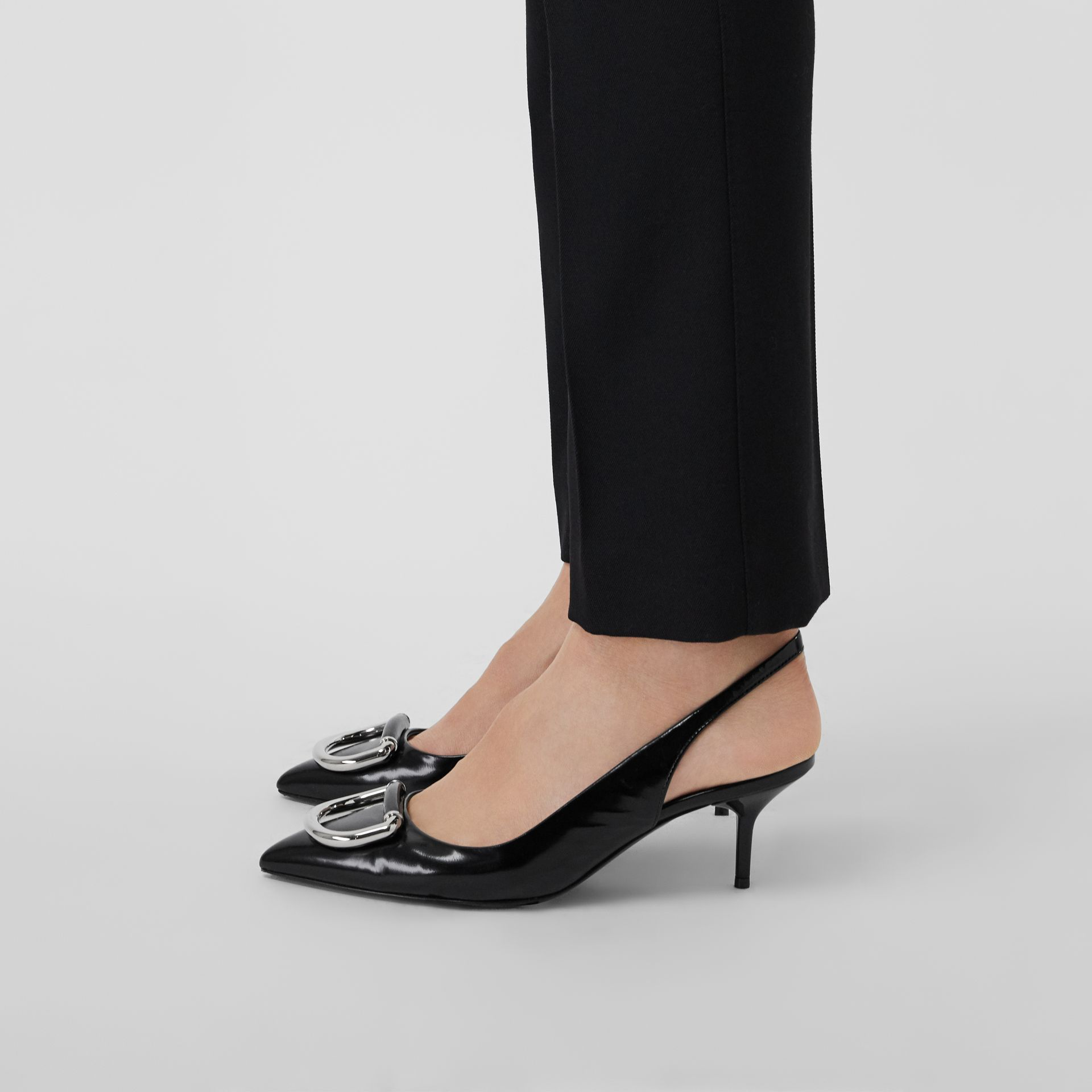 The Leather D-ring Slingback Pump in Black - Women | Burberry Singapore - gallery image 2