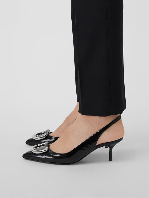 The Leather D-ring Slingback Pump in Black - Women | Burberry Singapore - cell image 2