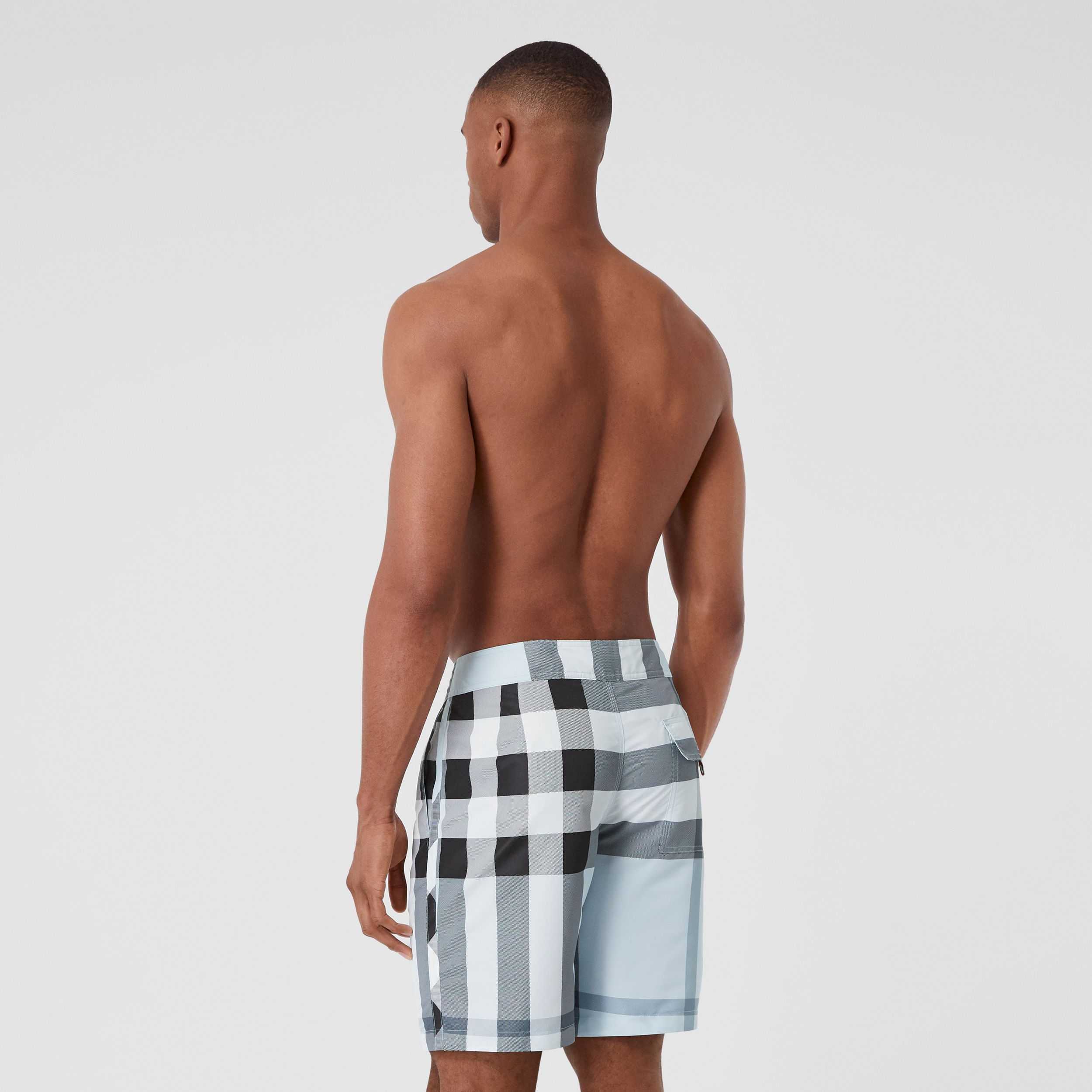 Check Swim Shorts in Chalk Blue - Men | Burberry - 2