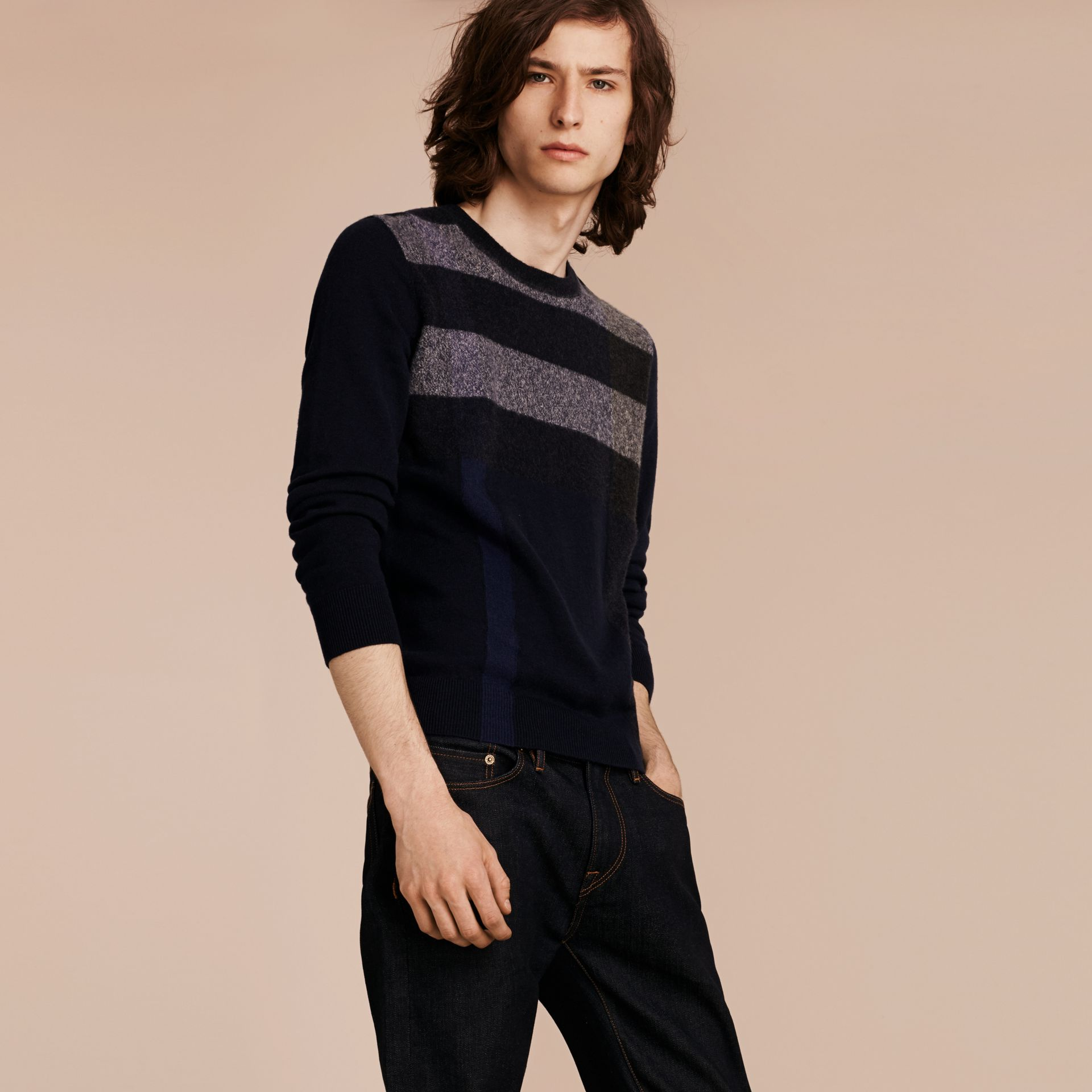 Graphic Check Cashmere Cotton Sweater Navy - gallery image 6