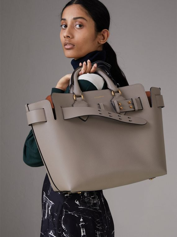 The Medium Leather Belt Bag in Mineral Grey - Women | Burberry - cell image 2