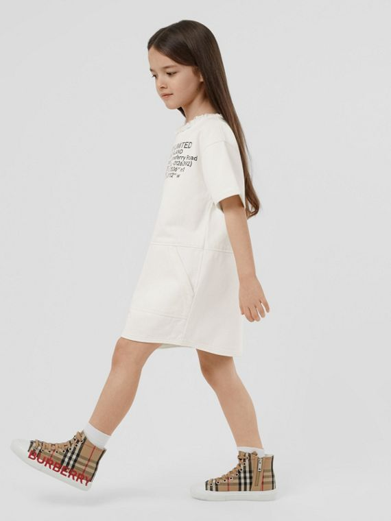 Location Print Frayed Japanese Denim Shift Dress in Natural White