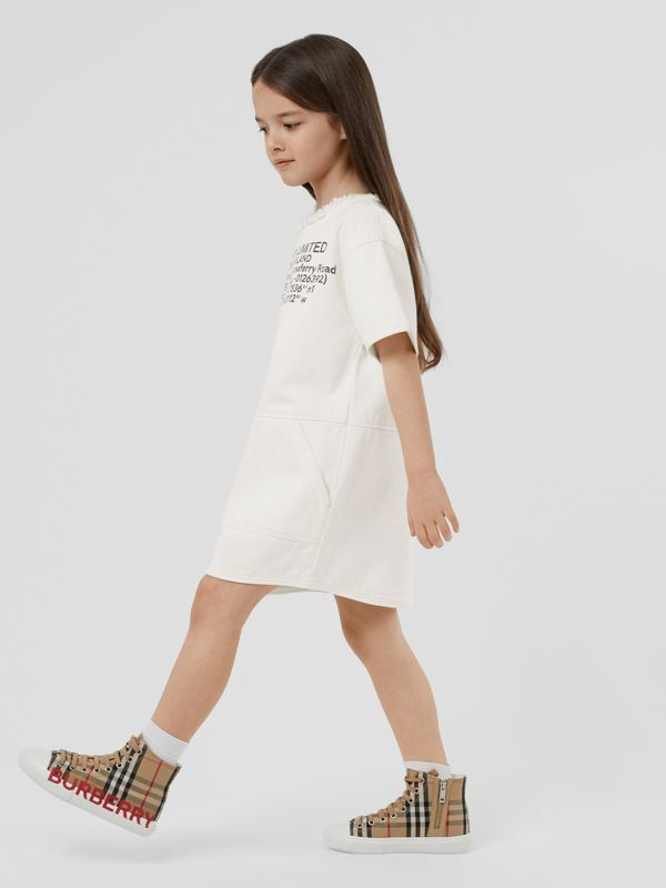 Location Print Frayed Japanese Denim Shift Dress in Natural White | Burberry United States - cell image 2